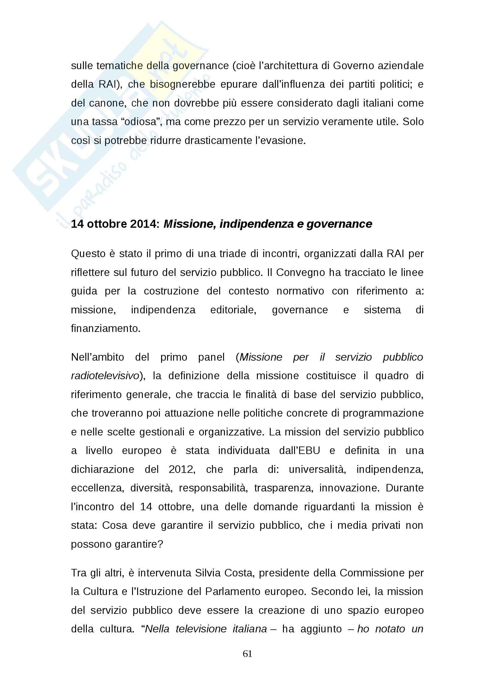 Tesi: Rinnovo della concessione pubblica Stato-RAI: regole e dibattito Pag. 61
