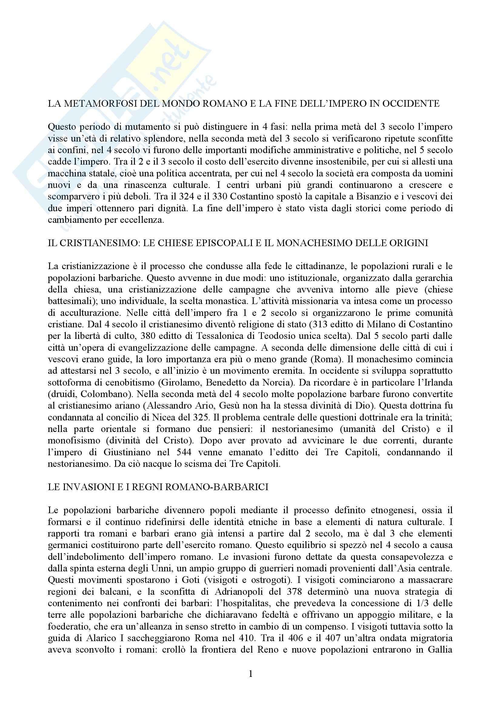 Riassunto esame Storia medievale, prof. Galetti, libro consigliato Storia medievale, Montanari