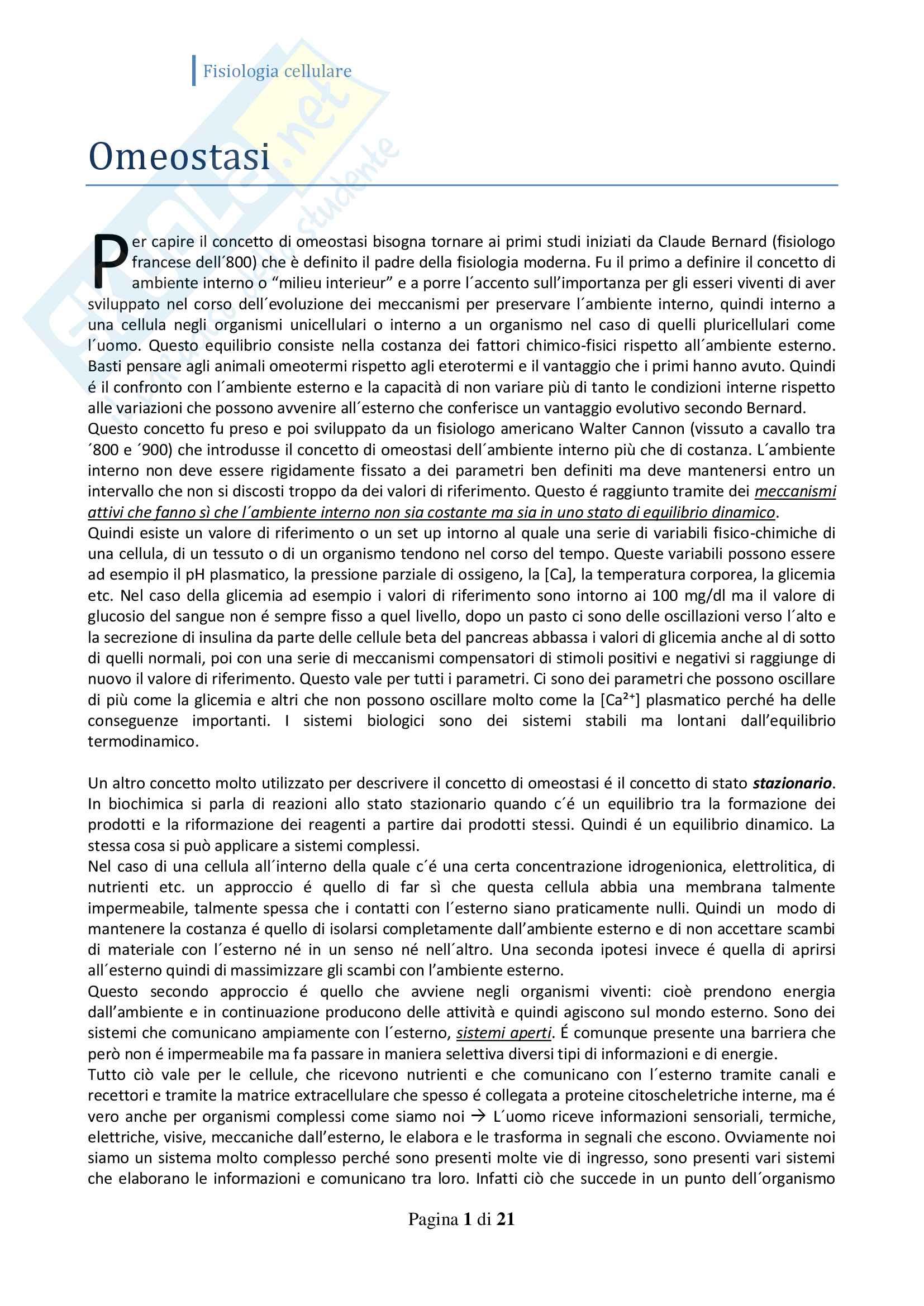 Fisiologia cellulare (omeostasi, trasduzione segnale, canali ionici, recettori)