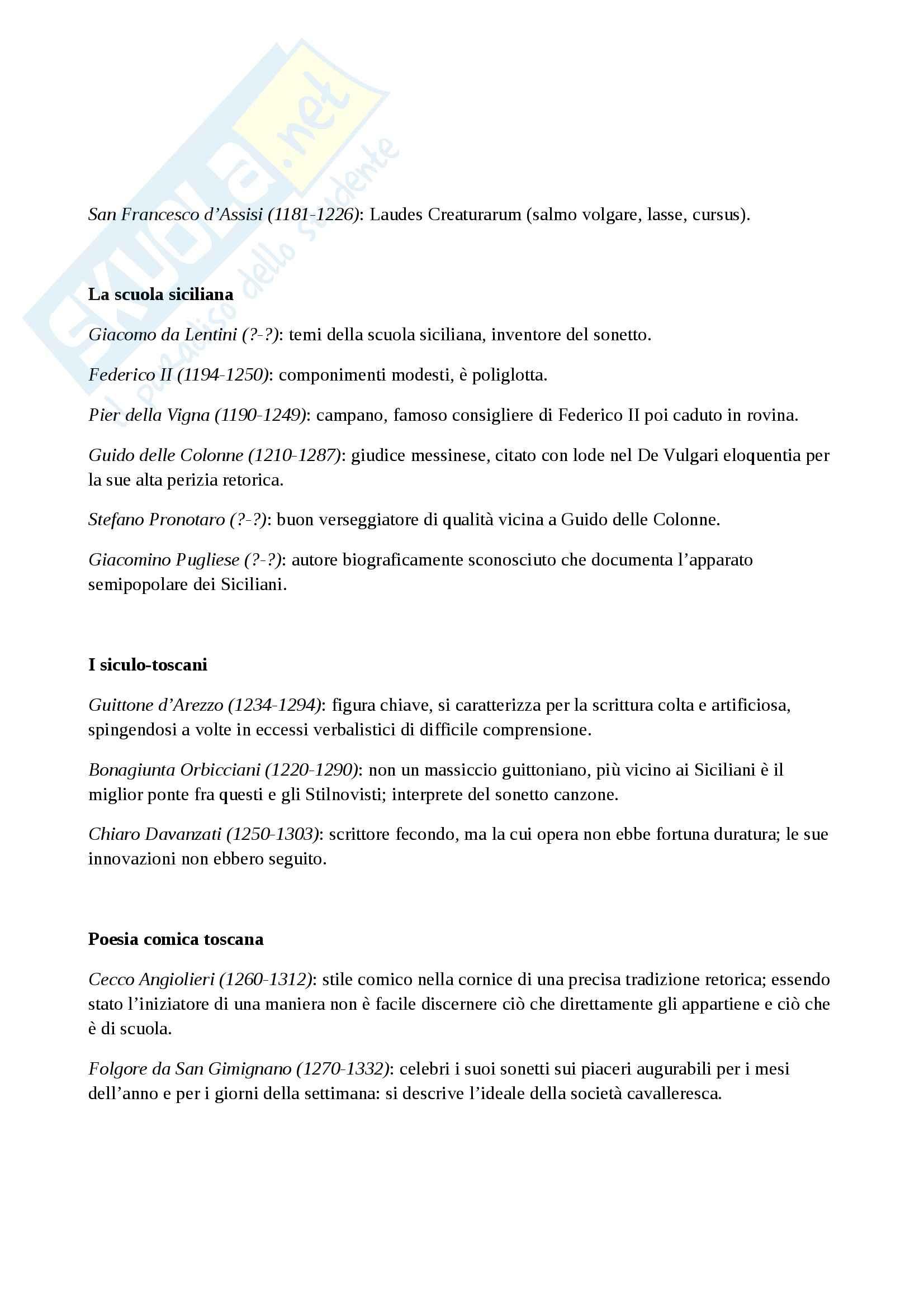 Riassunto esame Letteratura, prof. Frasso, libro consigliato Letteratura italiana del trecento e del quattrocento, Contini