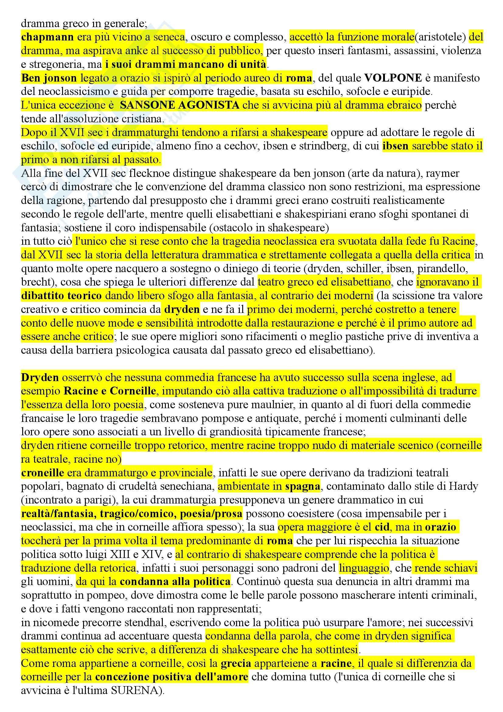 Riassunto esame Drammaturgia, prof. Innamorati, libro consigliato La morte della tragedia, Steiner Pag. 2