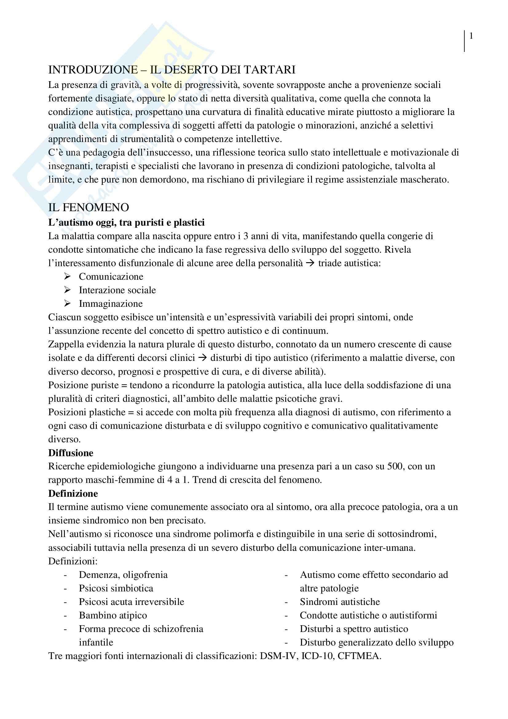Riassunto esame Pedagogia Sperimentale, prof. Crispiani, libro consigliato Lavorare con l'Autismo