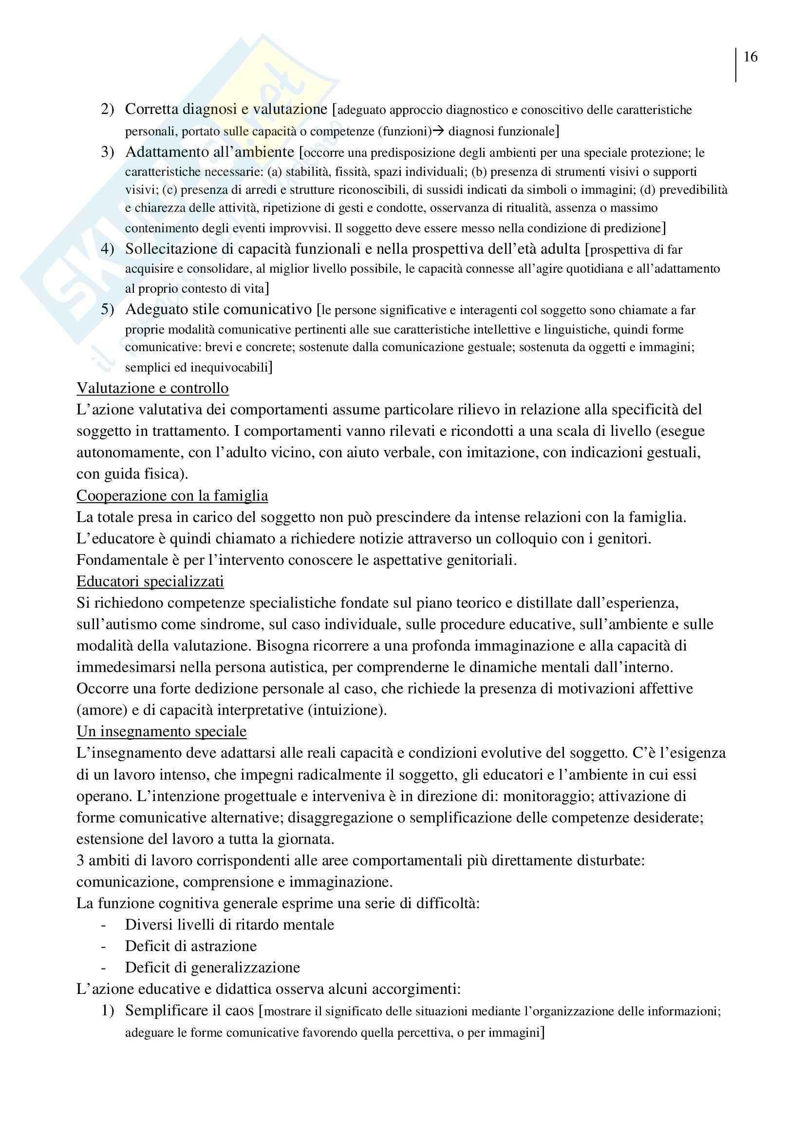 Riassunto esame Pedagogia Sperimentale, prof. Crispiani, libro consigliato Lavorare con l'Autismo Pag. 16