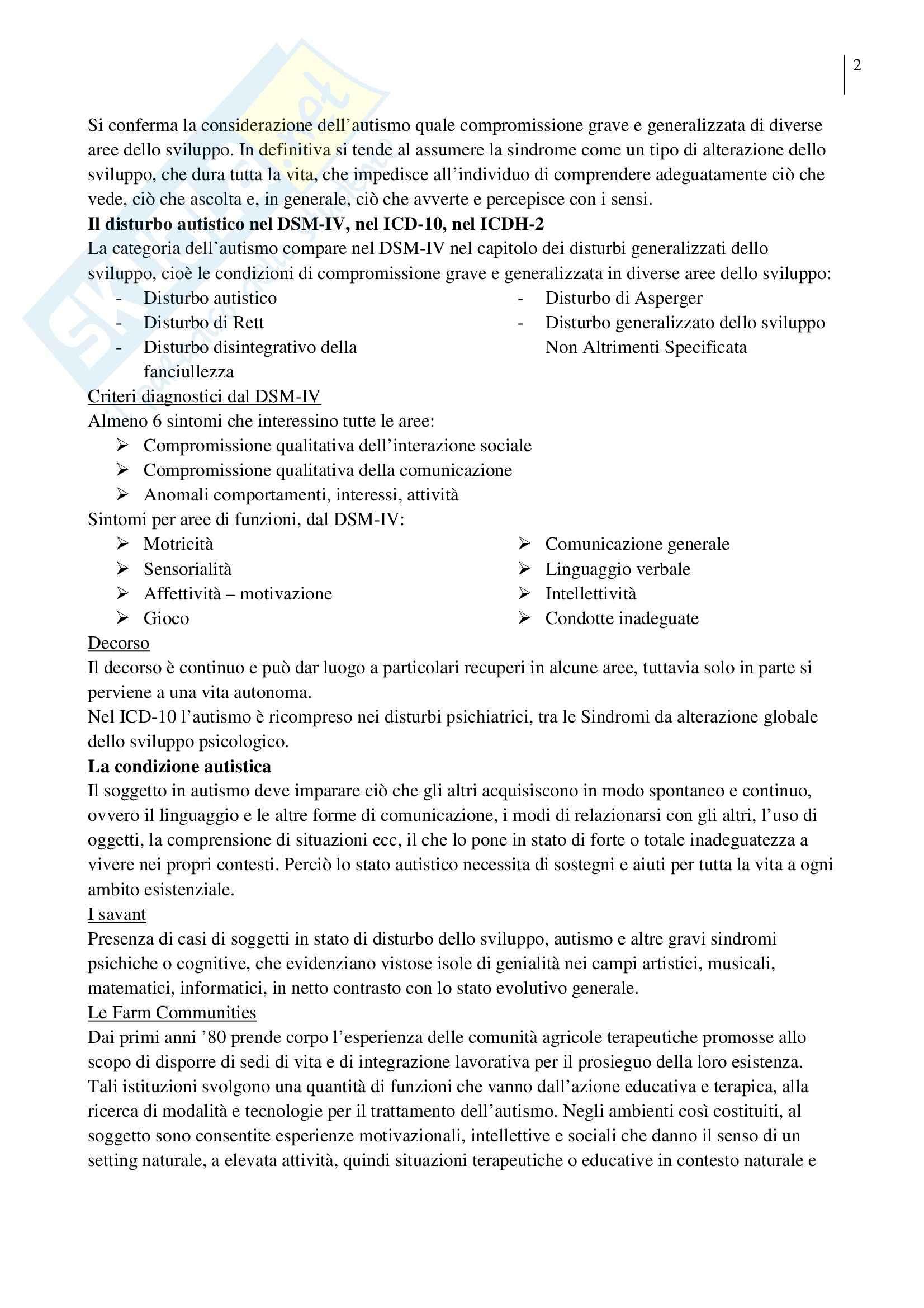 Riassunto esame Pedagogia Sperimentale, prof. Crispiani, libro consigliato Lavorare con l'Autismo Pag. 2