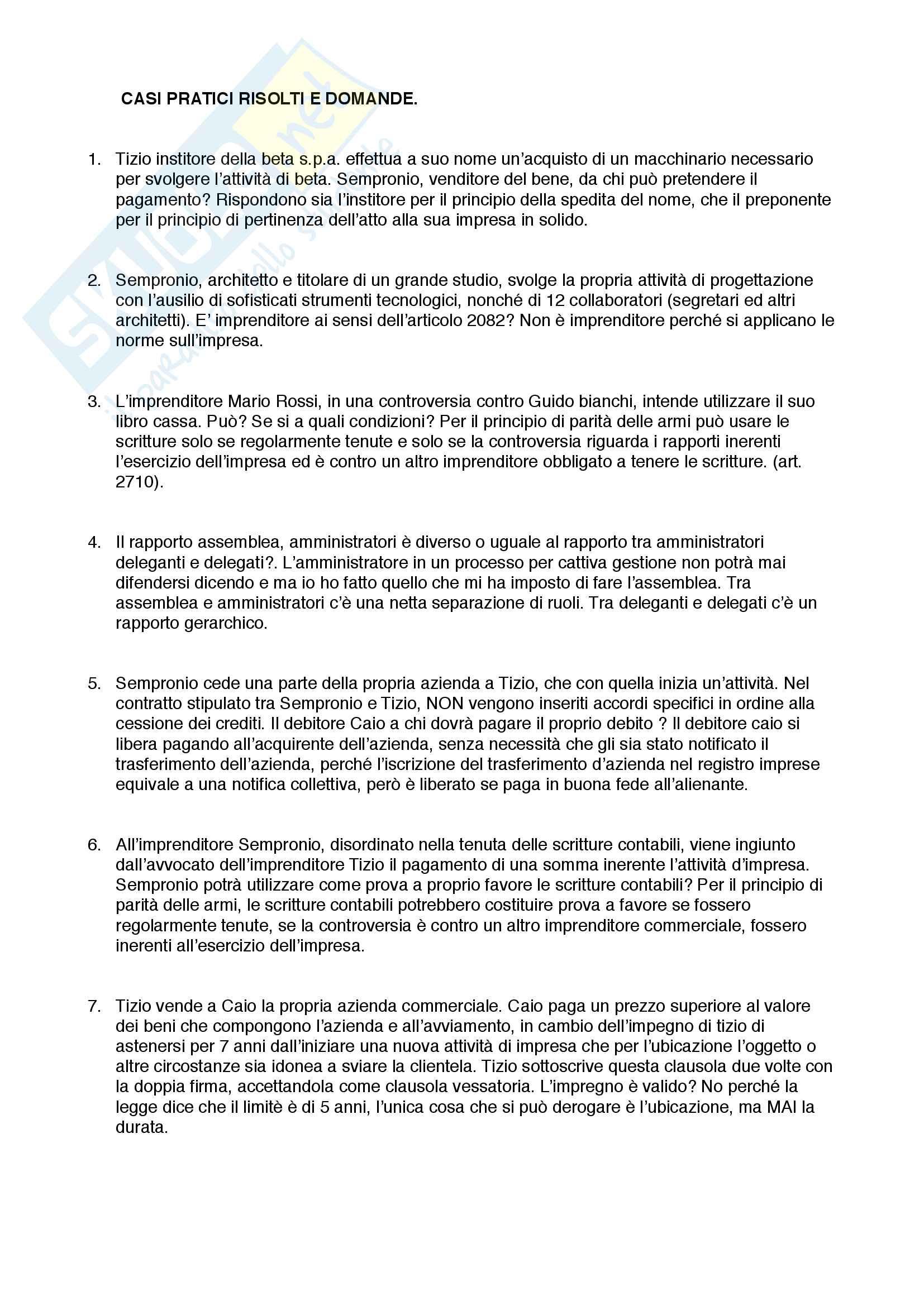 Diritto commerciale pt.3 : casi pratici e domande