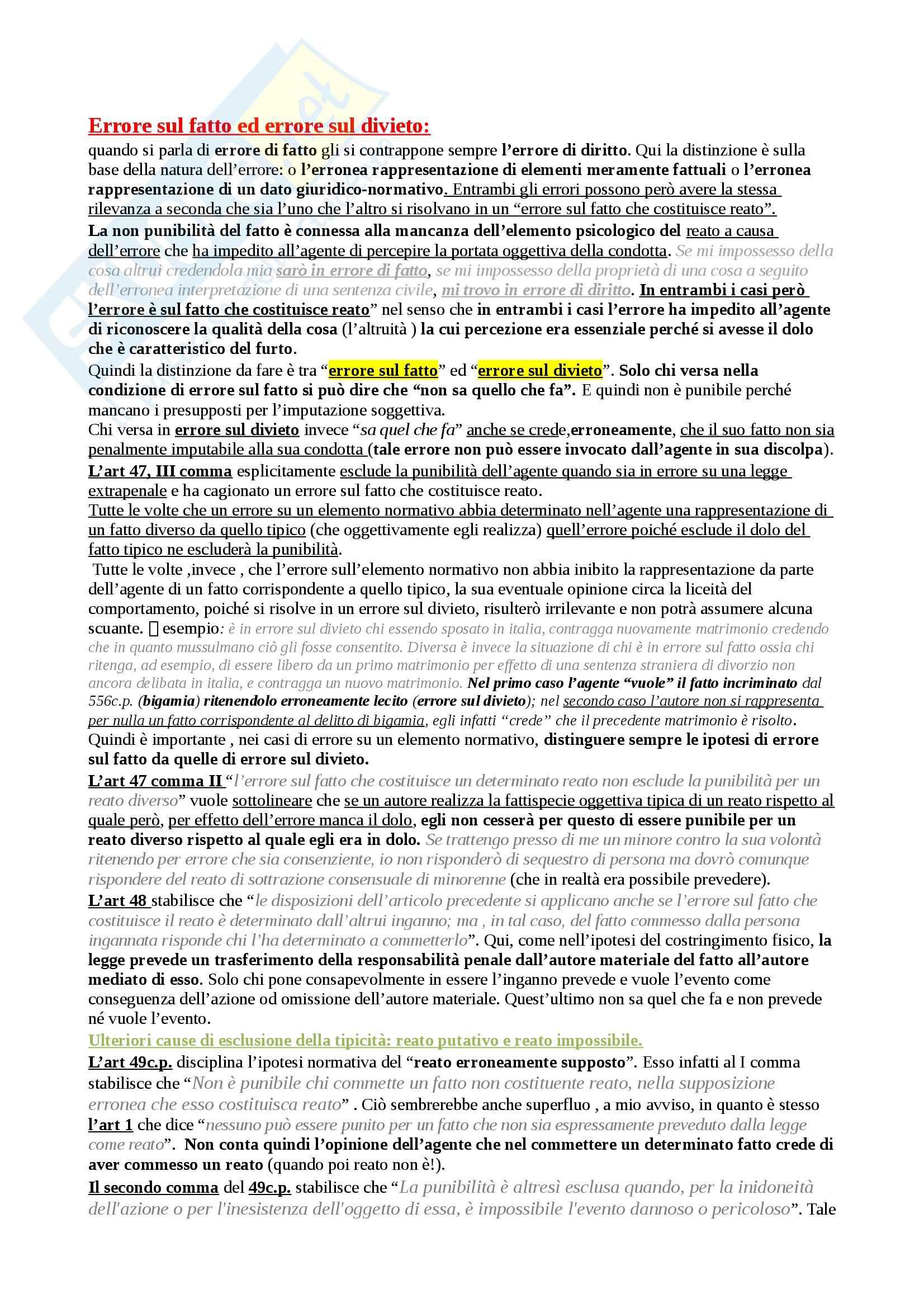 Diritto penale - Errore sul fatto ed errore sul divieto