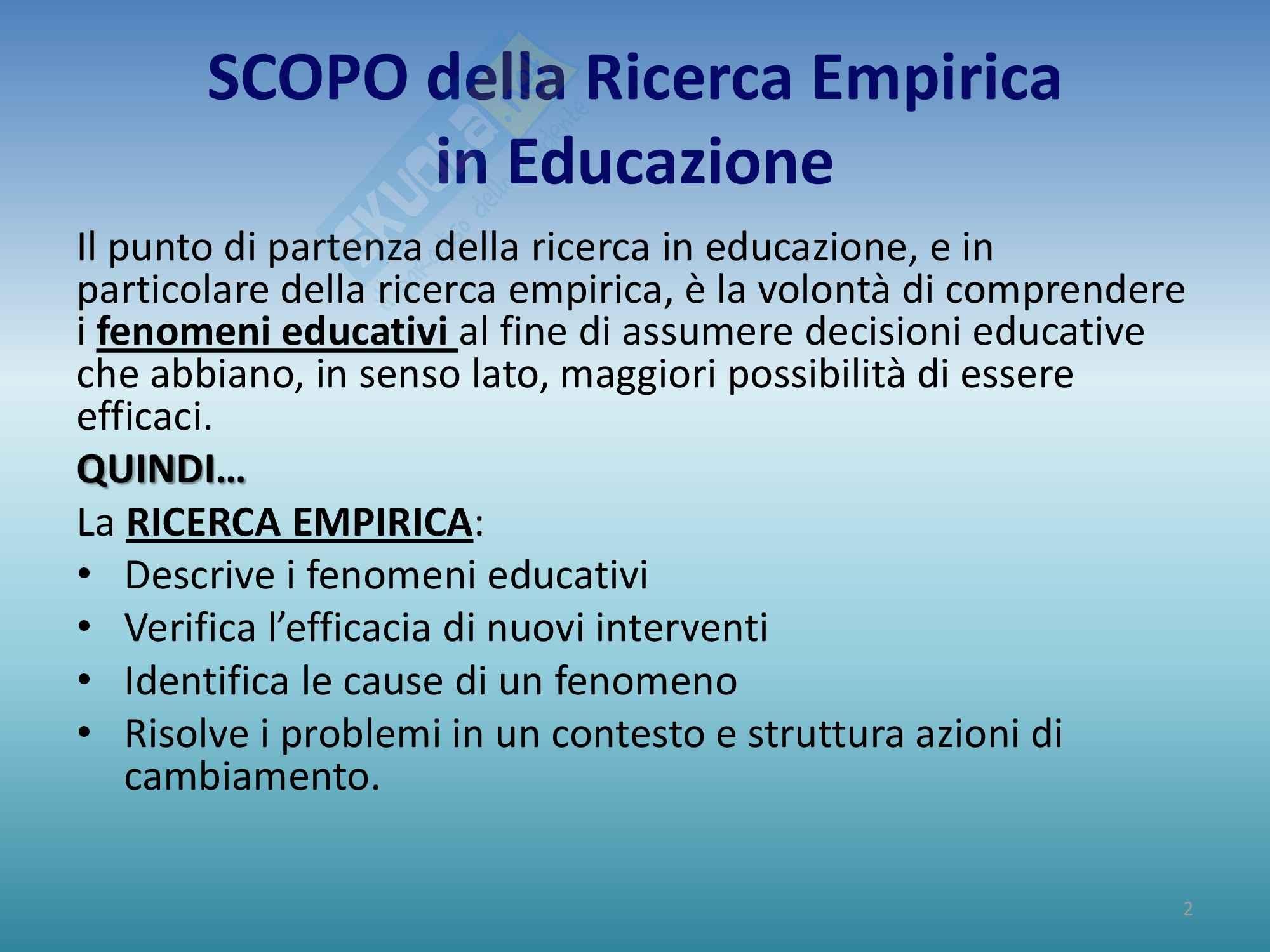 Riassunto esame Progettazione, Prof Luppi, libro consigliato Progettare la ricerca empirica in educazione ,Coggi, Ricchiardi Pag. 2