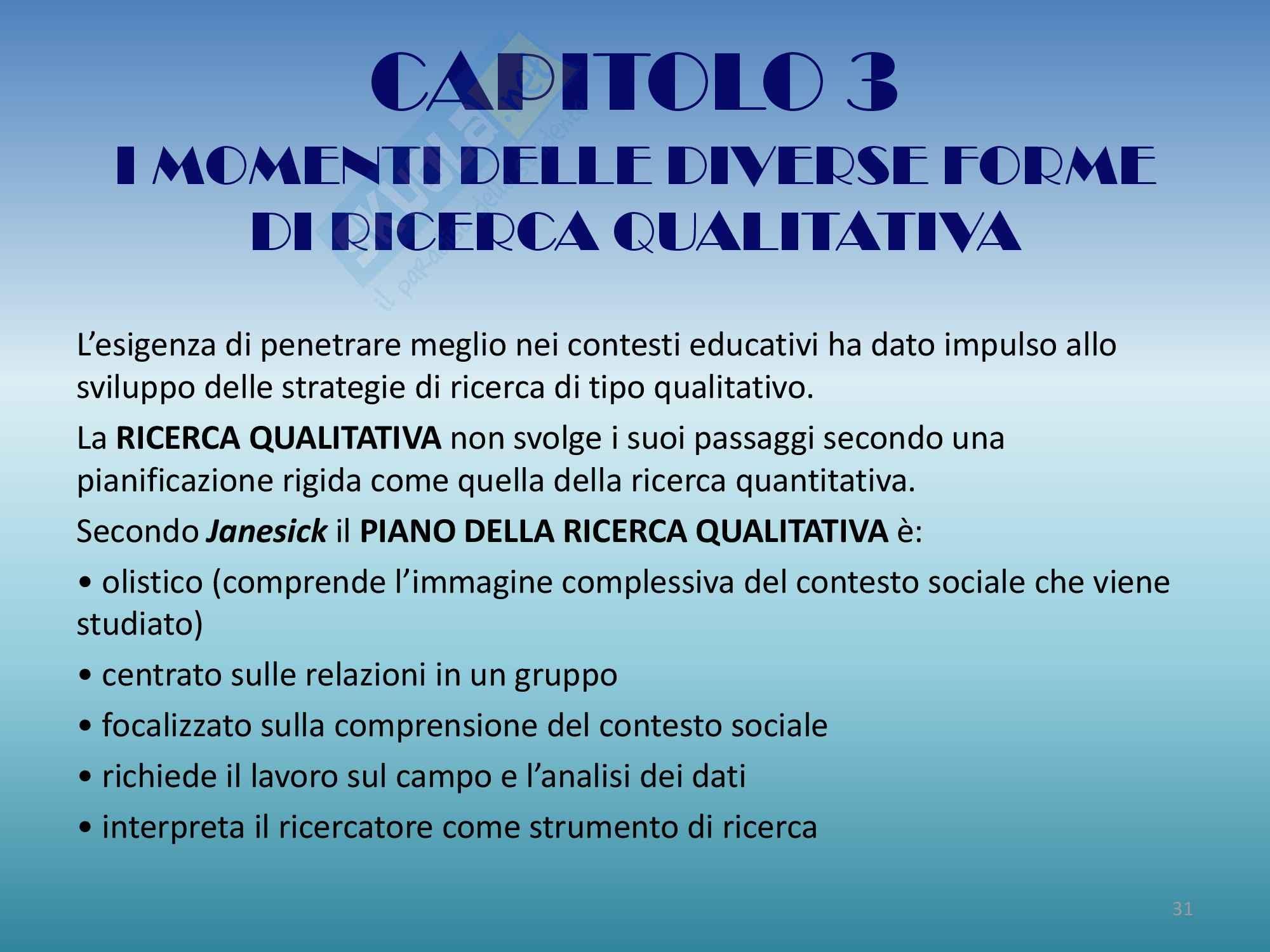 Riassunto esame Progettazione, Prof Luppi, libro consigliato Progettare la ricerca empirica in educazione ,Coggi, Ricchiardi Pag. 31