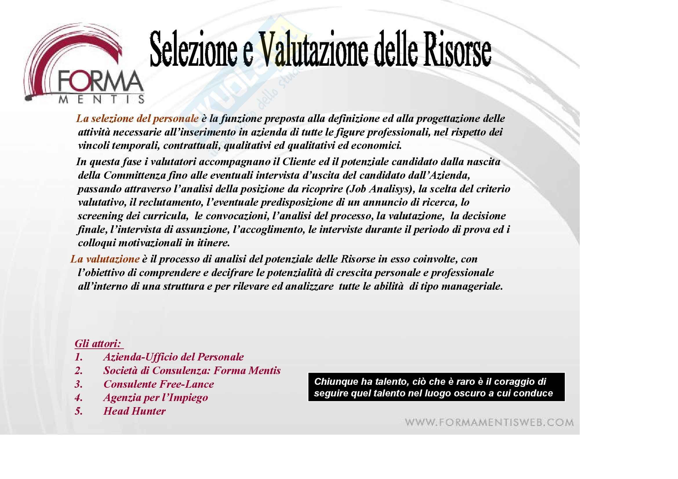Politiche della formazione e delle risorse umane - la selezione del personale Pag. 2