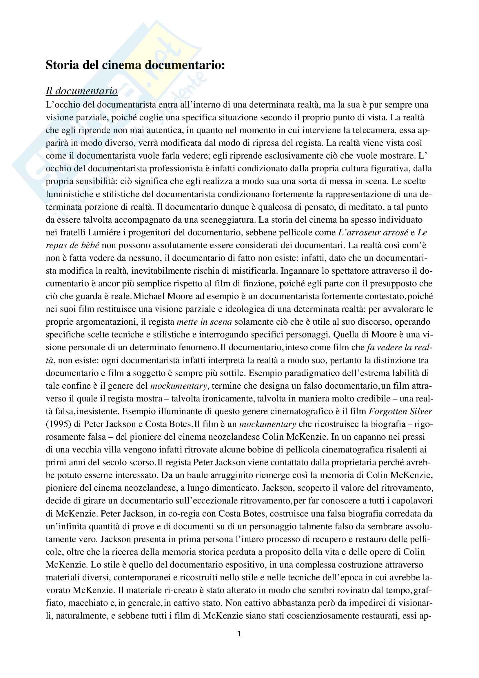Appunti esame Storia del cinema documentario, prof. Prono