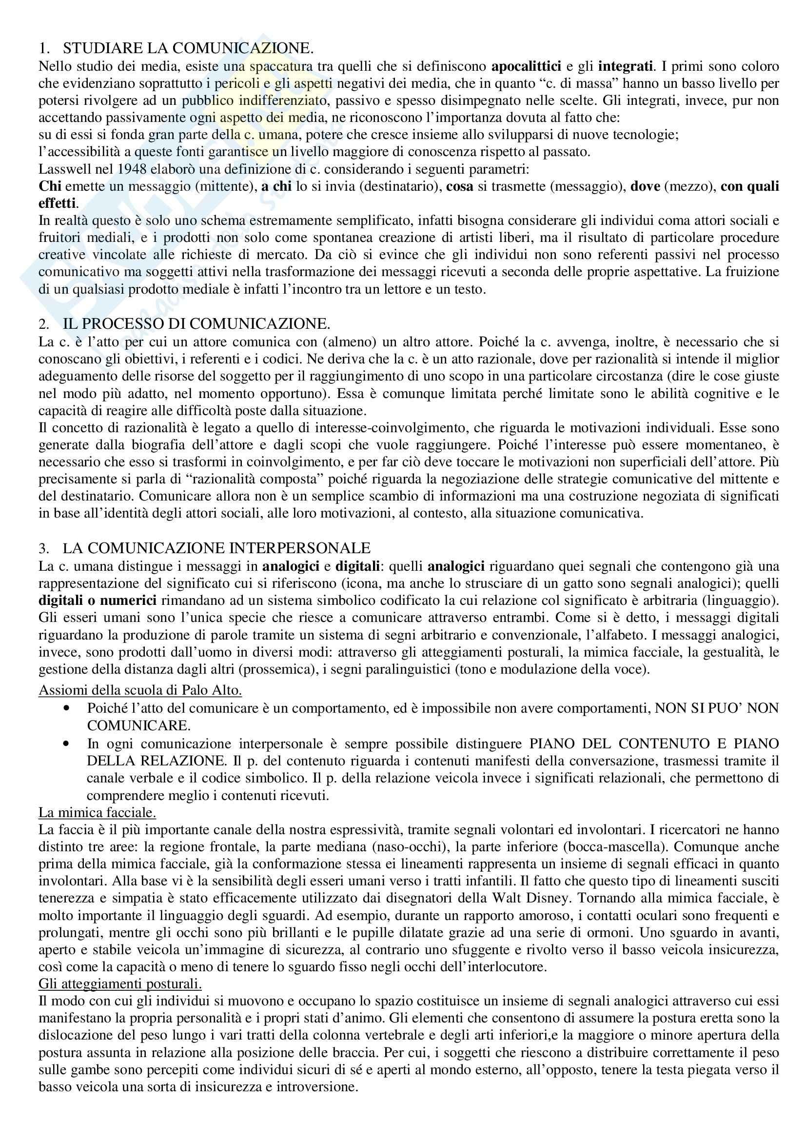 Riassunto esame sociologia della comunicazione, prof. Giacomarra, libro consigliato Sociologia della comunicazione, Livolsi