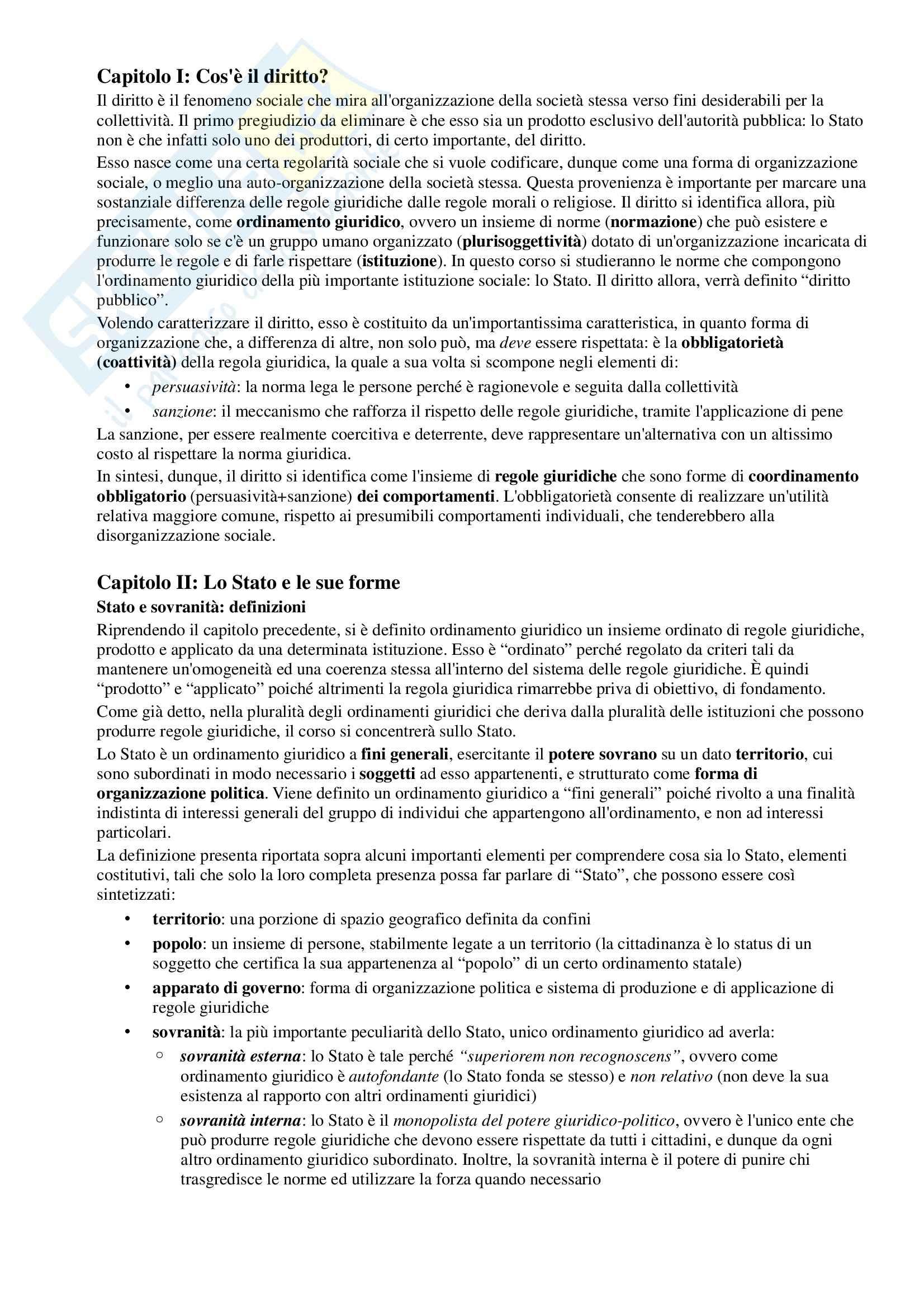 Riassunto esame Diritto Pubblico, prof. Simoncini, libro consigliato Introduzione allo studio del Diritto Pubblico e delle sue fonti, Simoncini, Groppi