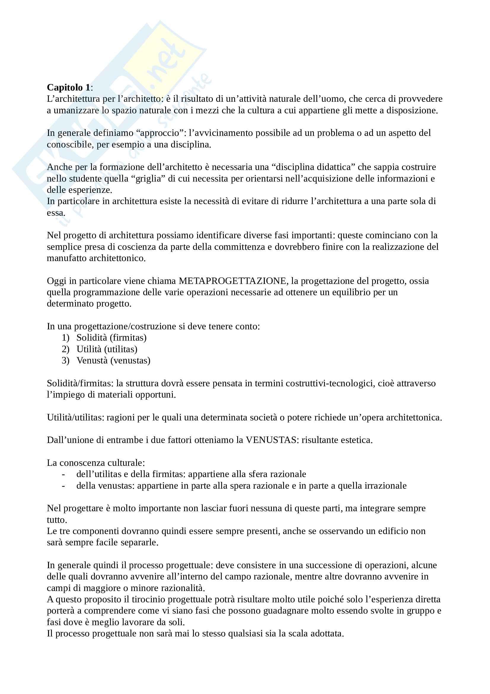 Riassunto esame Progettazione 1, prof. Bovati, libro consigliato Progettare un Edificio Otto Lezioni di Architettura, Quaroni