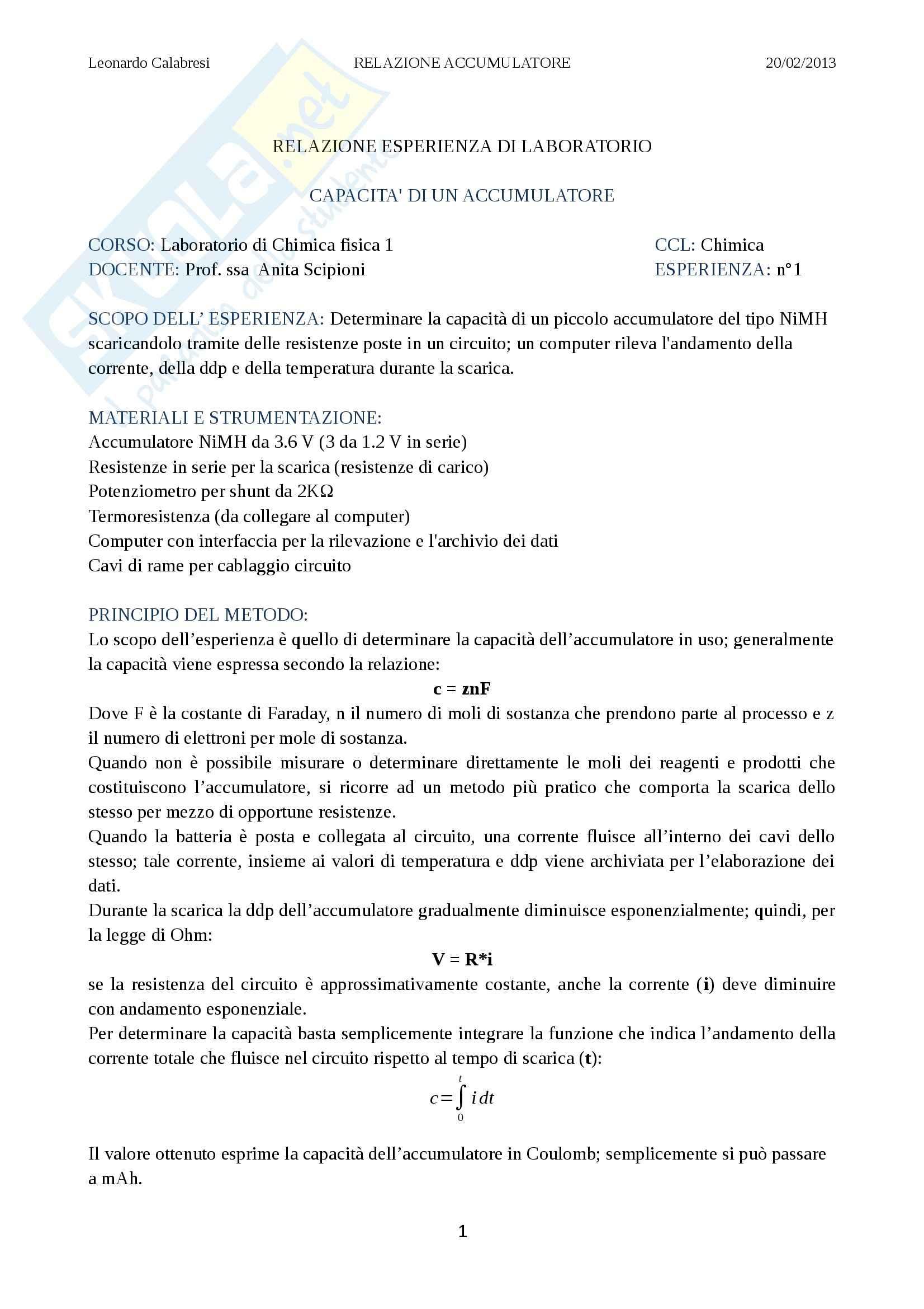 Relazione di laboratorio (accumulatore), Chimica fisica