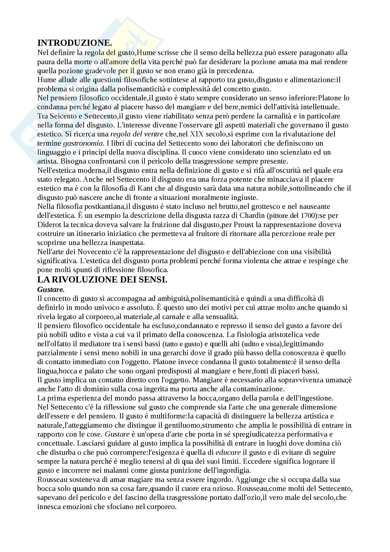 Riassunto esame Estetica, prof.M. Mazzocut-mis, libro consigliato Dal gusto al disgusto di M. Mazzocut-mis