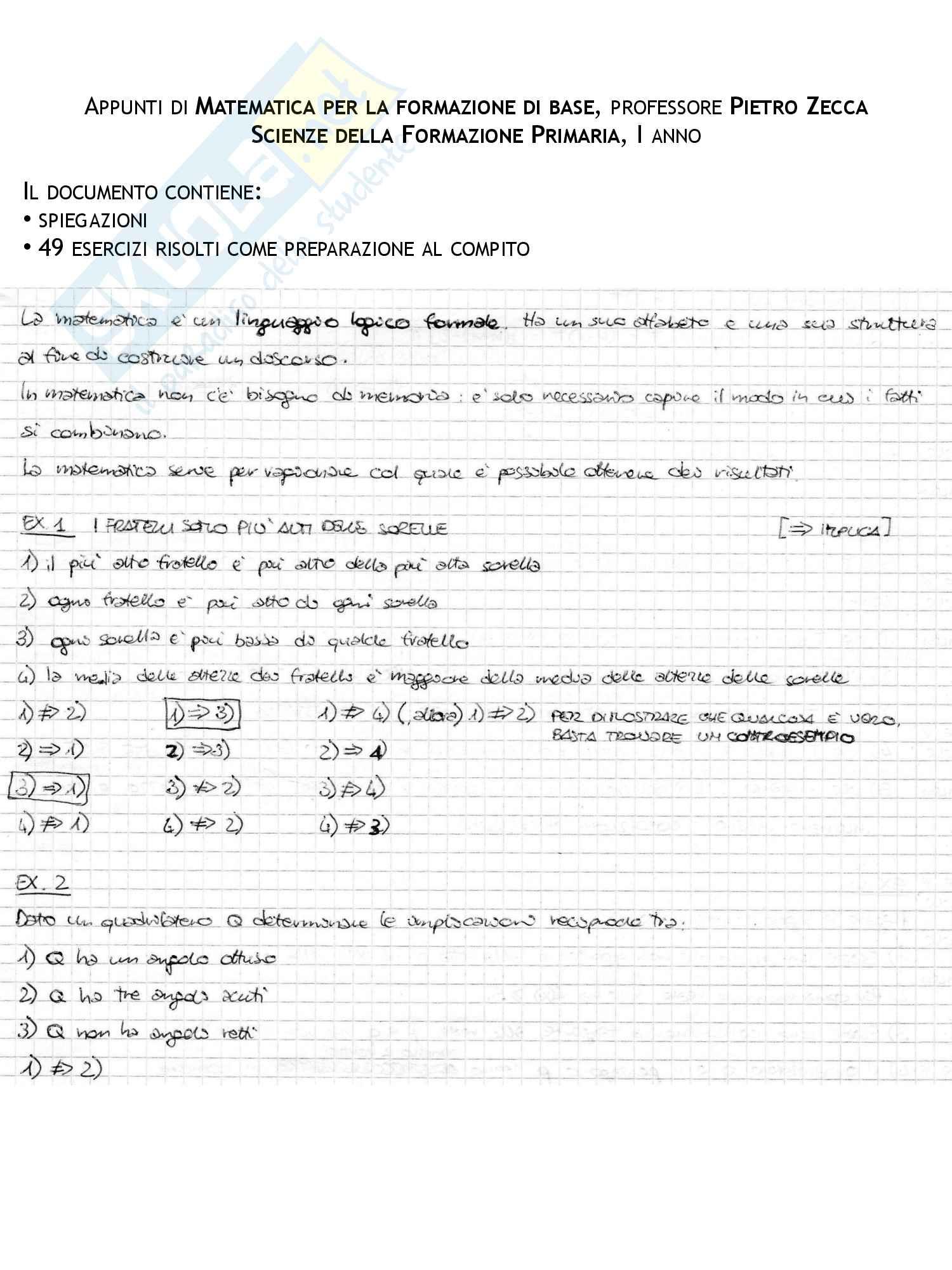 Appunti ed esercizi svolti di Matematica di base, Matematica di base, Pietro Zecca