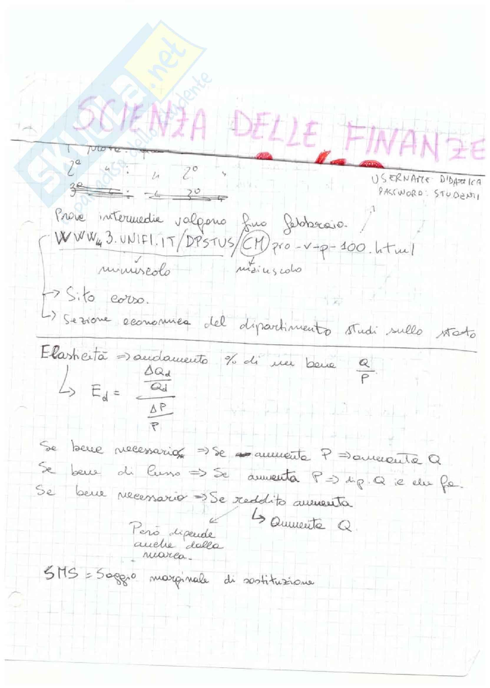 Scienza delle finanze - Appunti Pag. 1