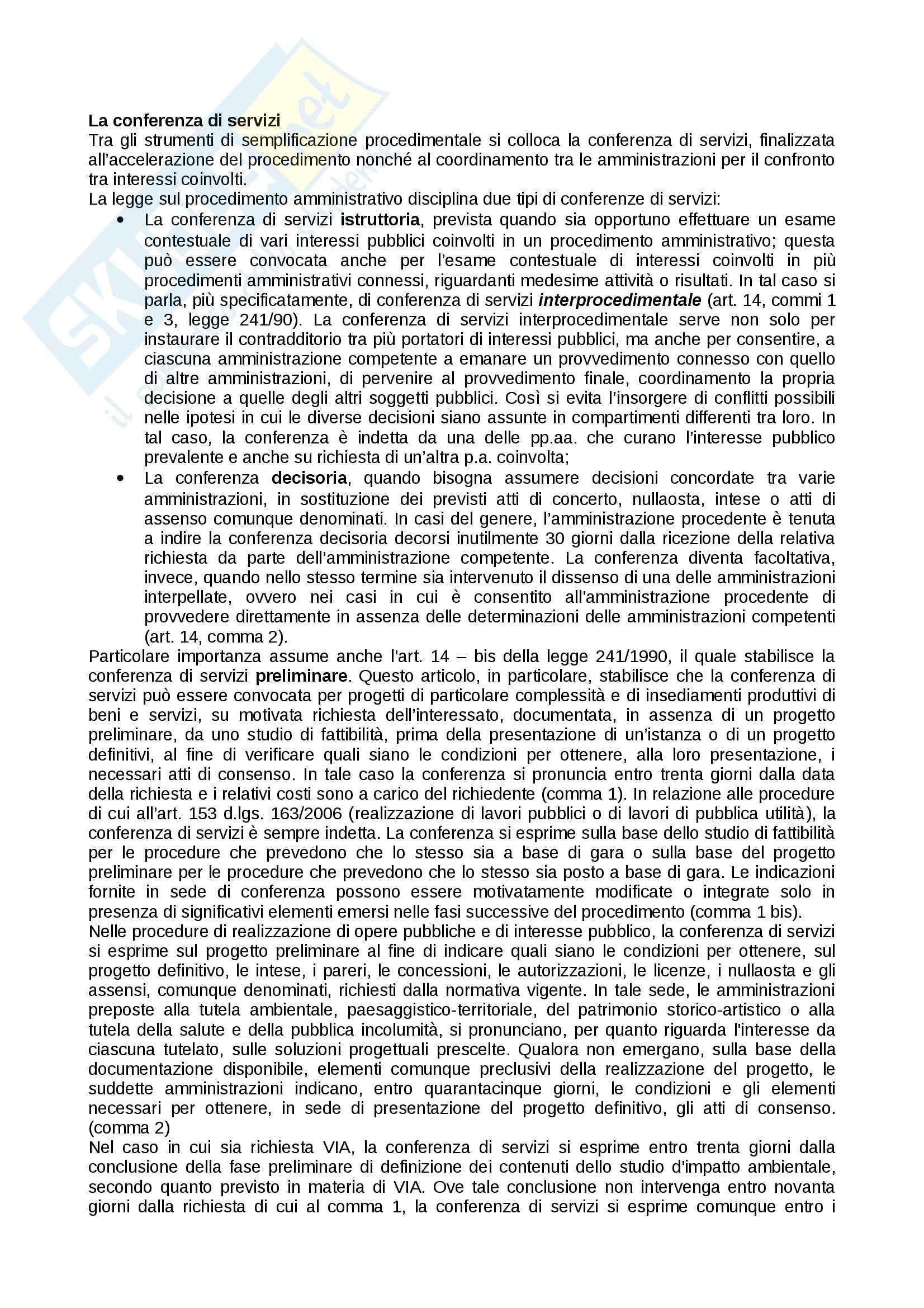 Conferenza di servizi, Diritto amministrativo I