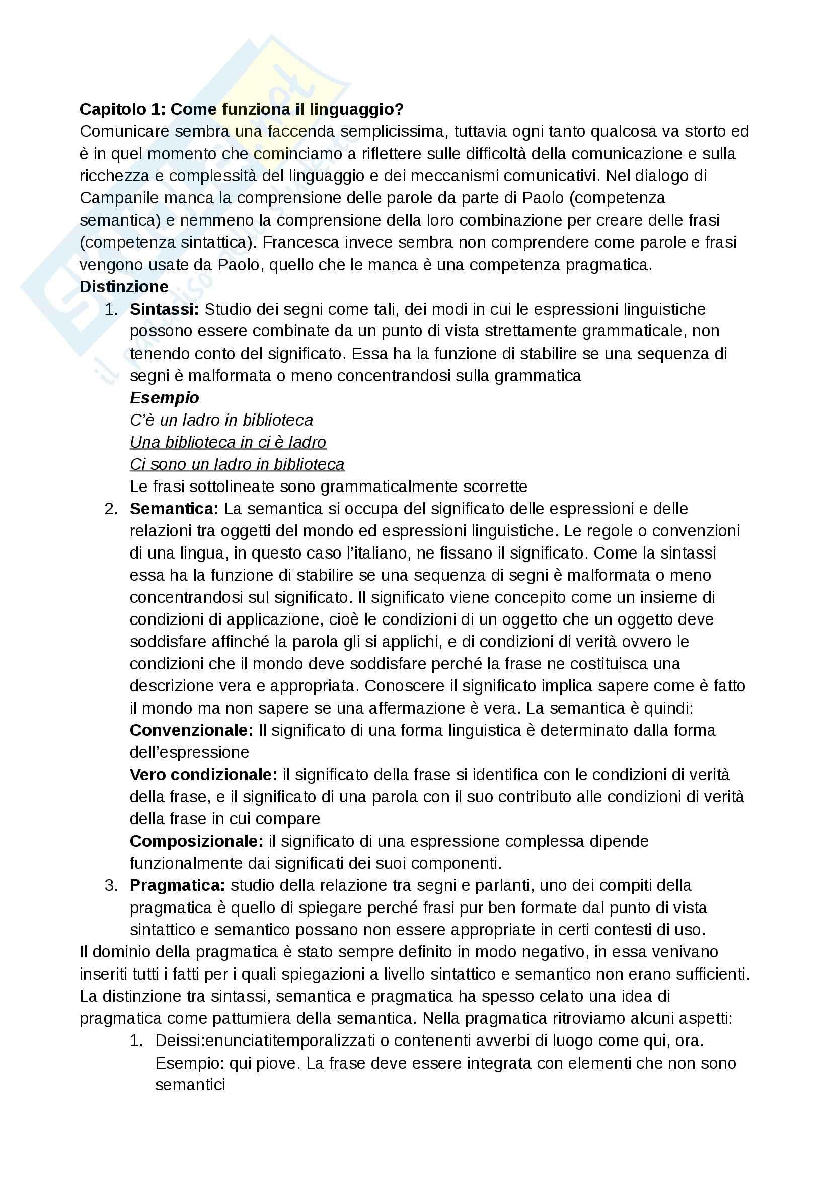 Riassunto esame Logica e filosofia della scienza, prof. Laudisa, libro consigliato Pragmatica del Linguaggio, Bianchi