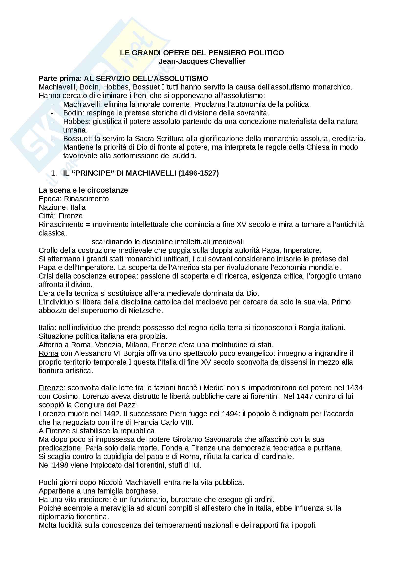 Riassunto esame storia delle dottrine politiche, prof. Del Corno, libro consigliato: Le grandi opere del pensiero politico, Jean-Jacques Chevallier
