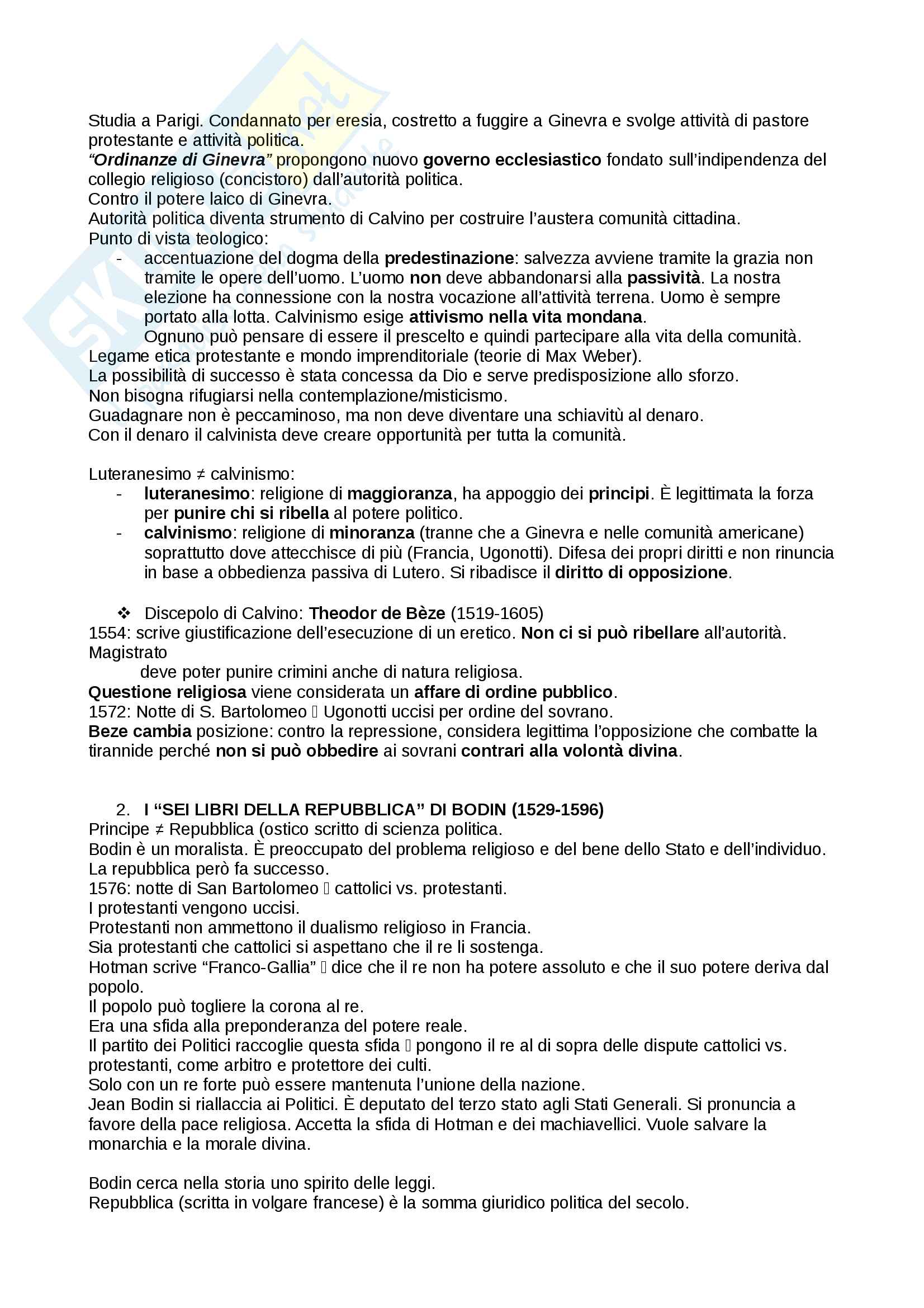 Riassunto esame storia delle dottrine politiche, prof. Del Corno, libro consigliato: Le grandi opere del pensiero politico, Jean-Jacques Chevallier Pag. 6