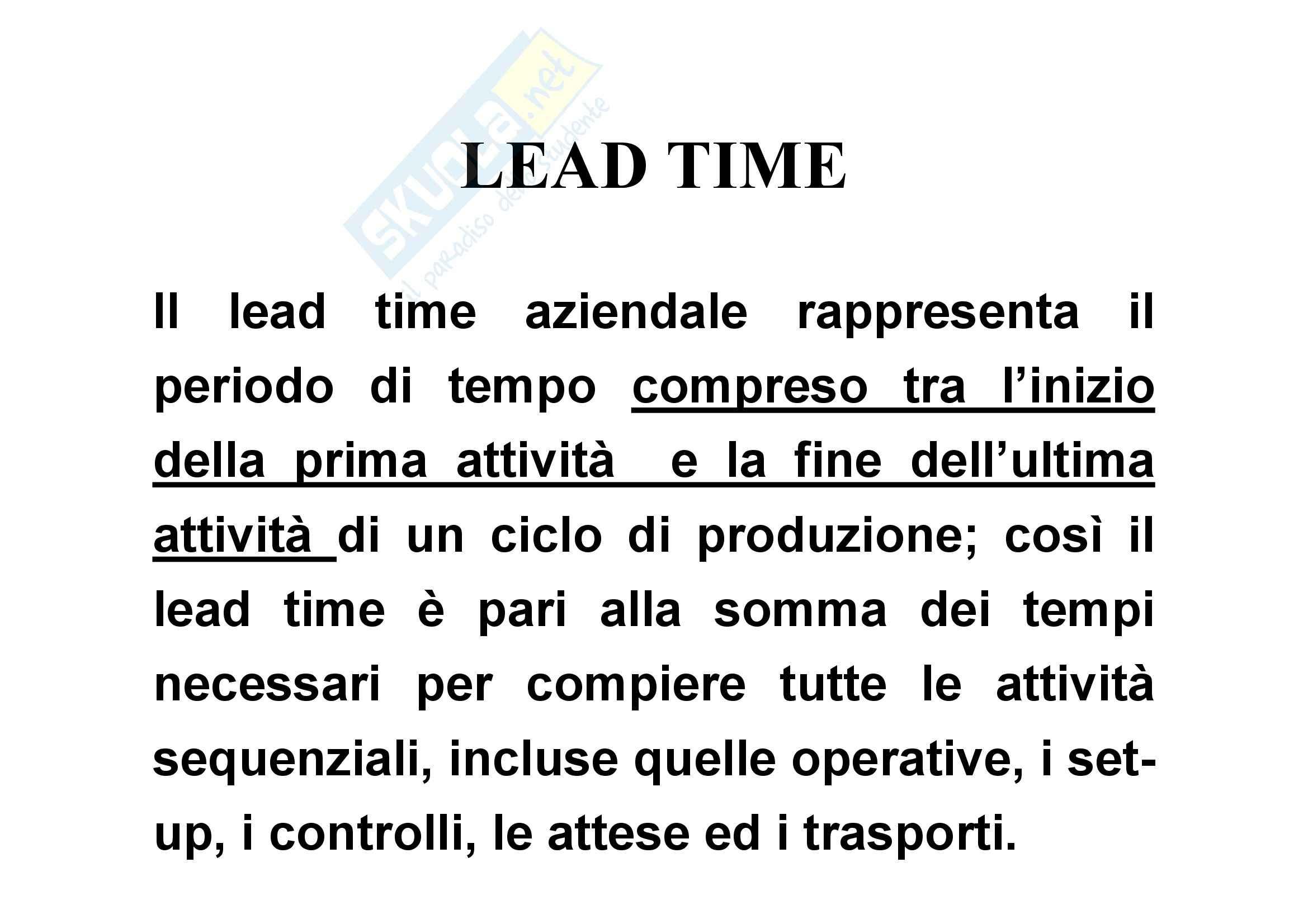 Tecnologia dei cicli produttivi - lead time