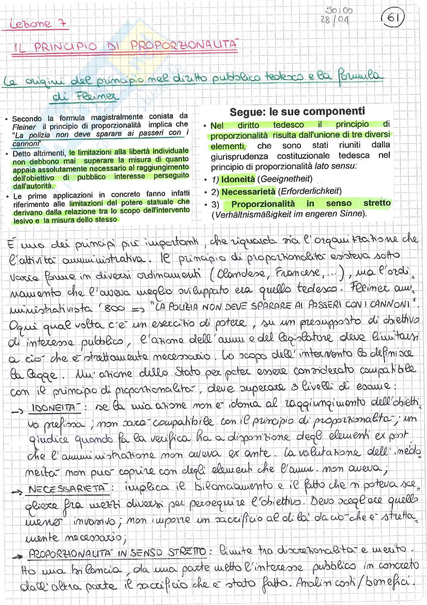 Diritto amministrativo europeo - principio di proporzionalità