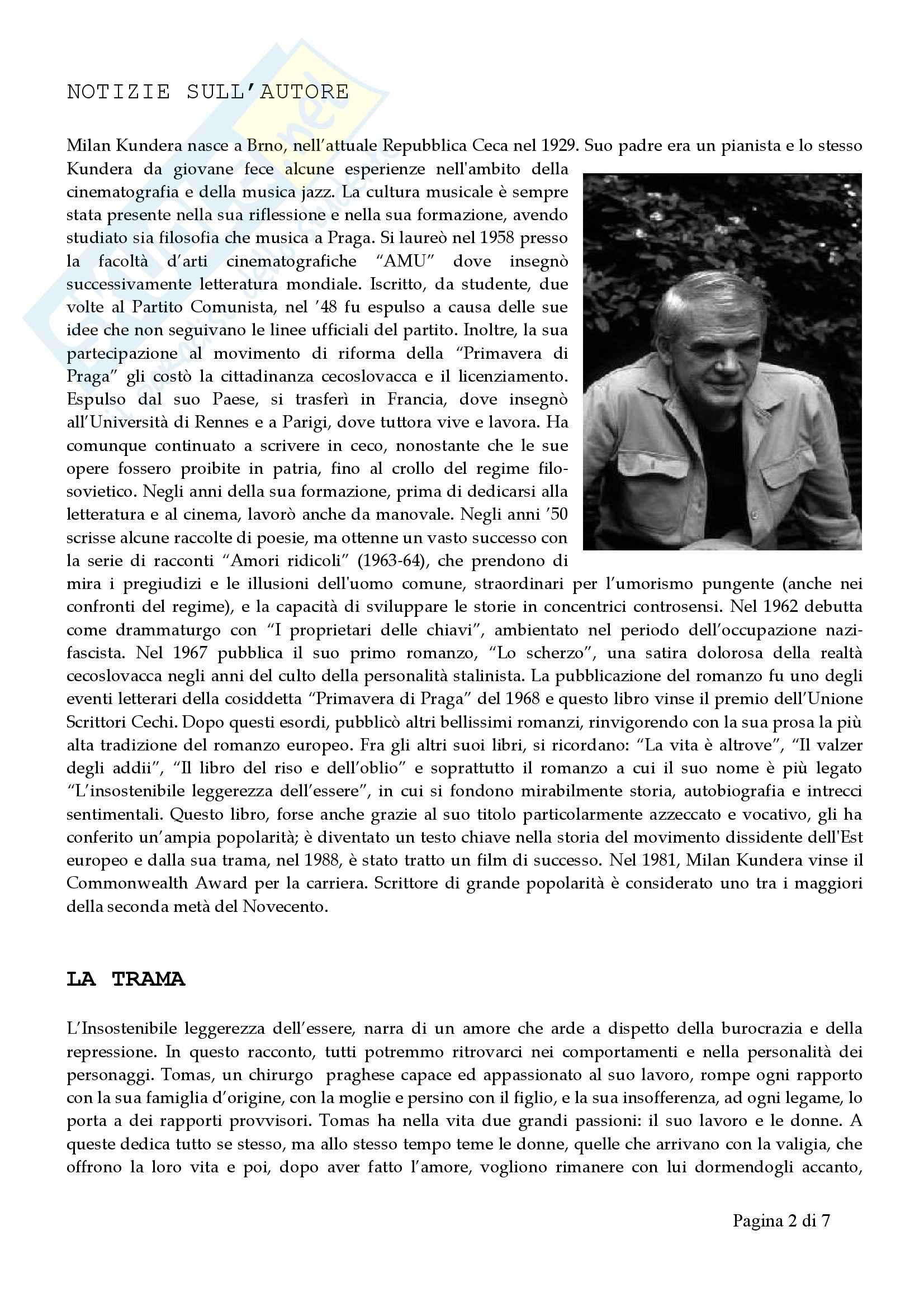 L'insostenibile leggerezza dell'essere, Kundera - Sintesi Pag. 2