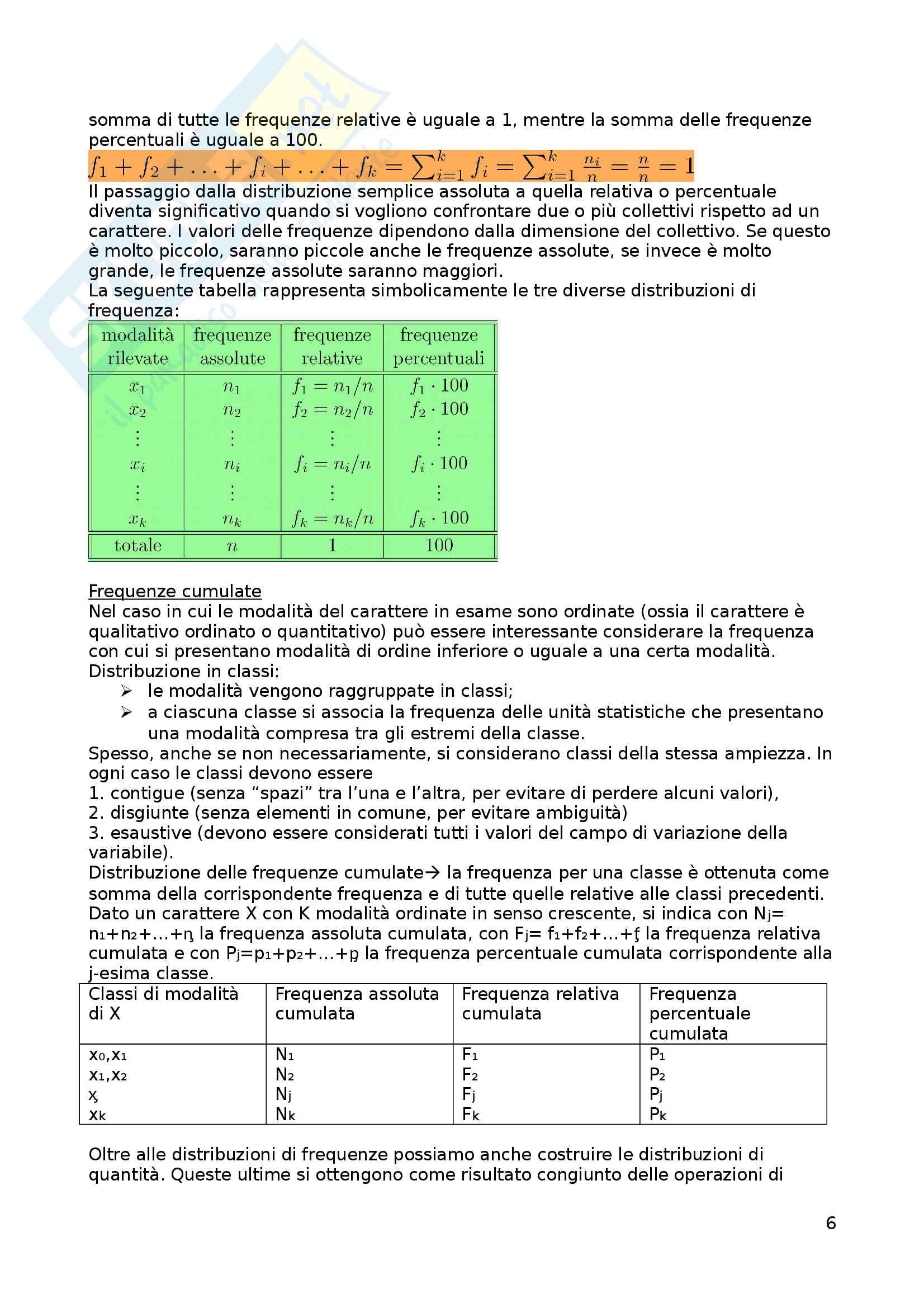 Appunti di Statistica Pag. 6