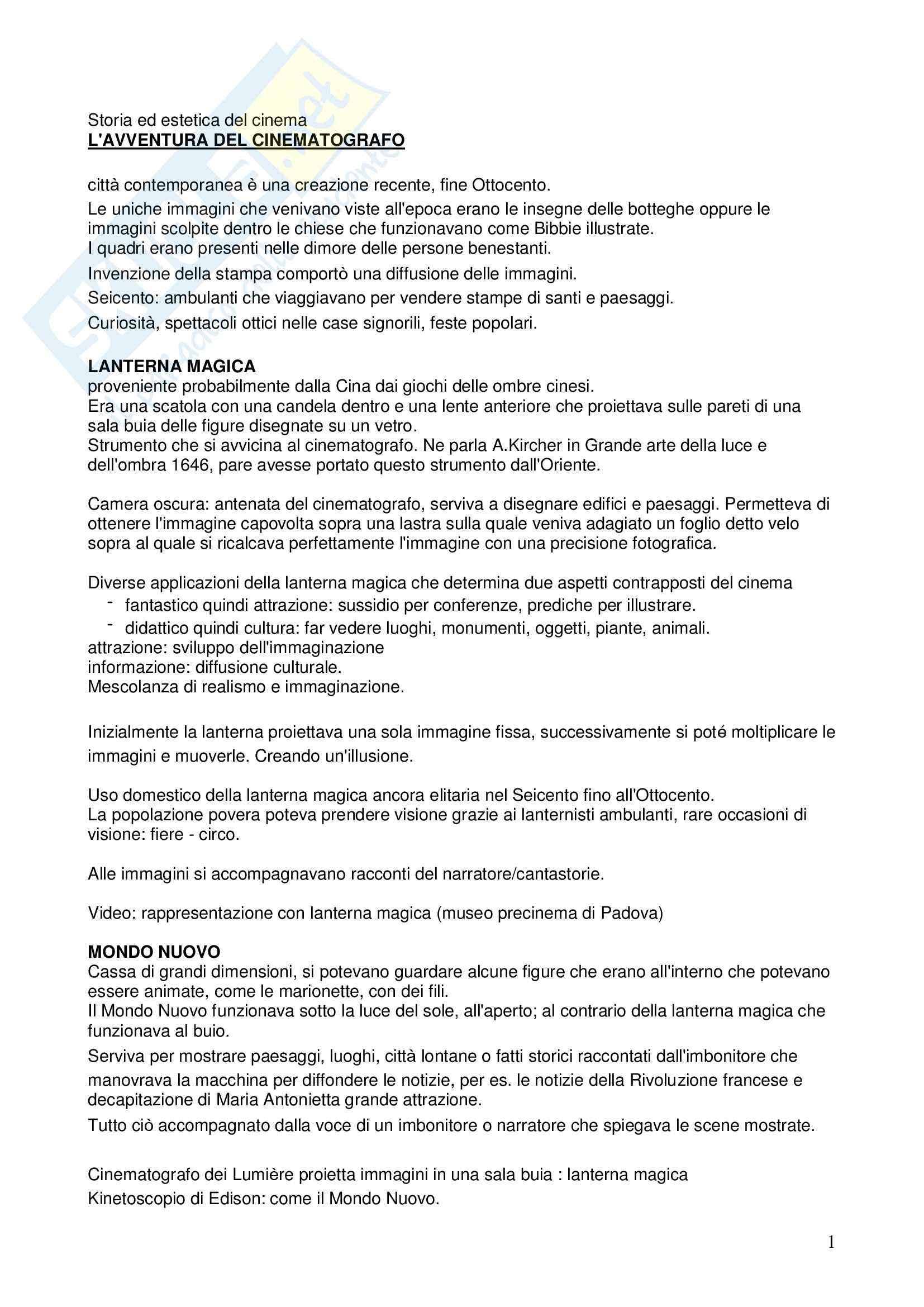 Riassunto esame Storia ed estetica del cinema, prof. Farinotti, libro consigliato L' avventura del cinematografo di Bernardi