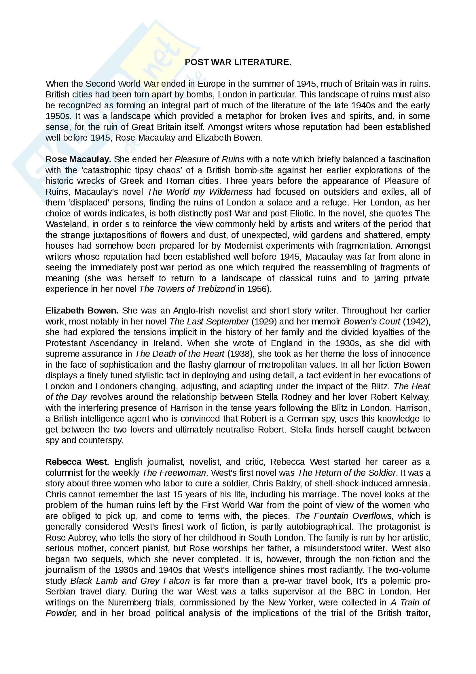 Riassunto esame Letteratura inglese, prof. Cavone, libro consigliato The Short Oxford English Literature, Sanders