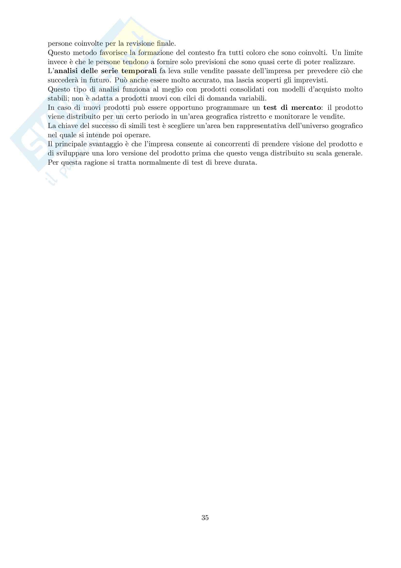 Riassunto esame Marketing, prof. Cedrola, libro consigliato Fondamenti di marketing, Cedrola, Blythe Pag. 36