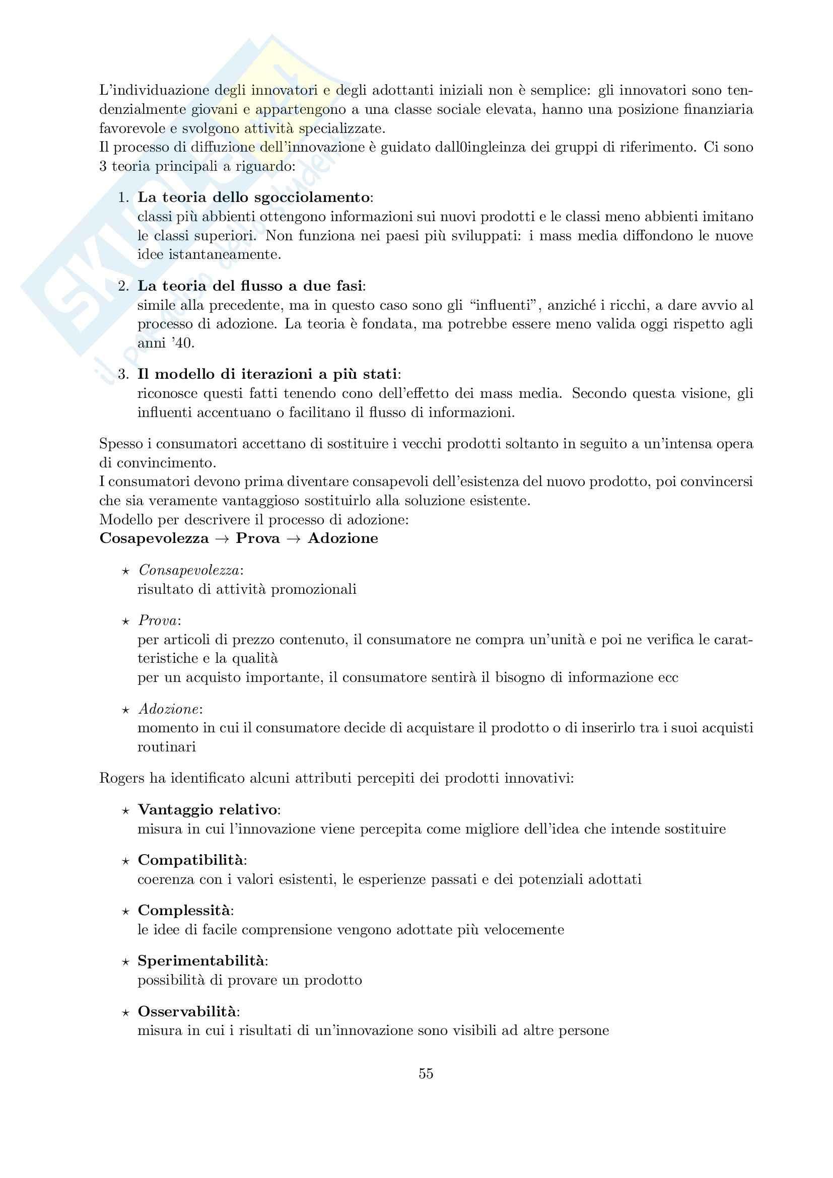 Riassunto esame Marketing, prof. Cedrola, libro consigliato Fondamenti di marketing, Cedrola, Blythe Pag. 56