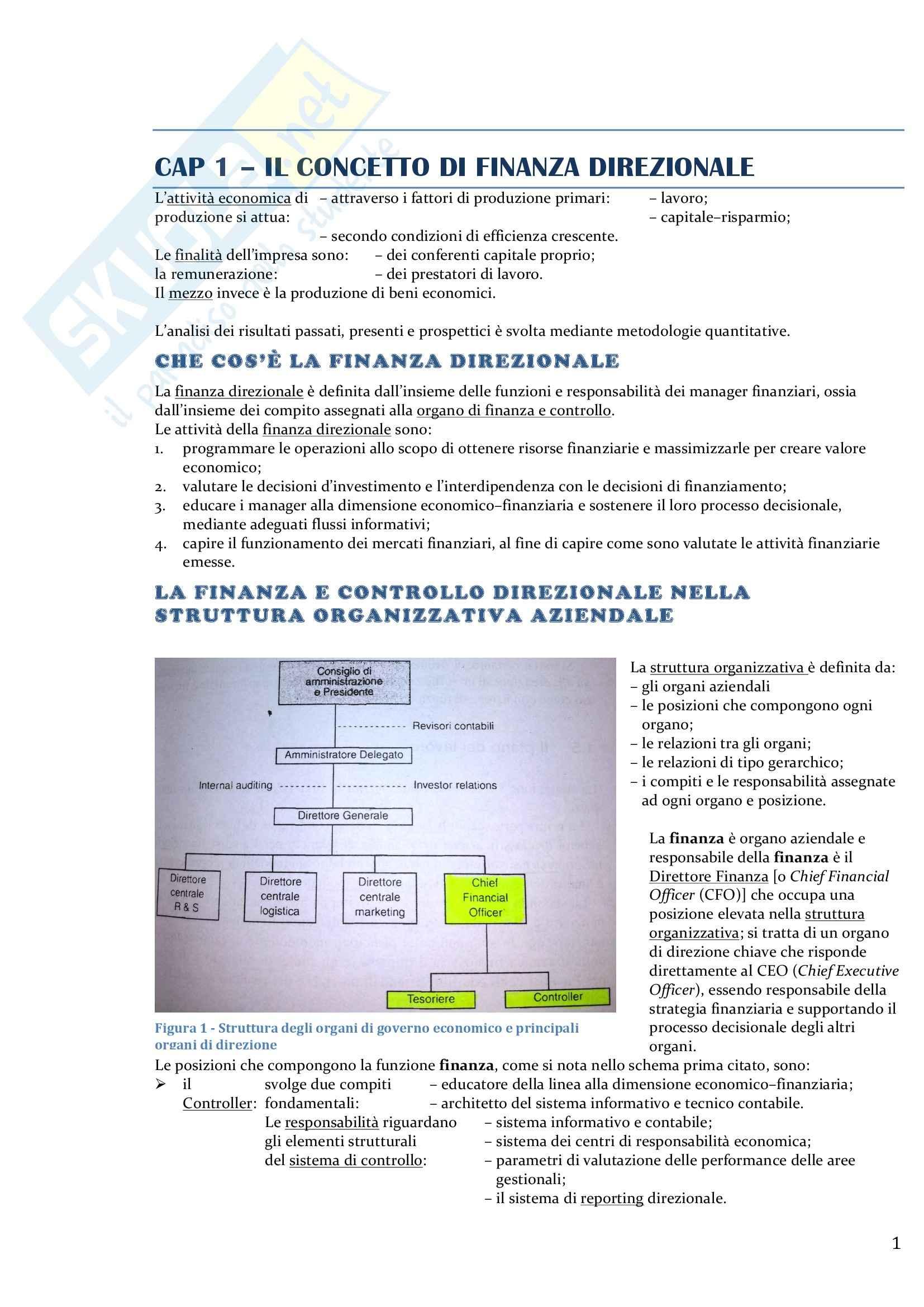 Riassunto esame Programmazione e controllo, prof. Cescon, libro consigliato Analisi finanziaria per il controllo di gestione, Cescon