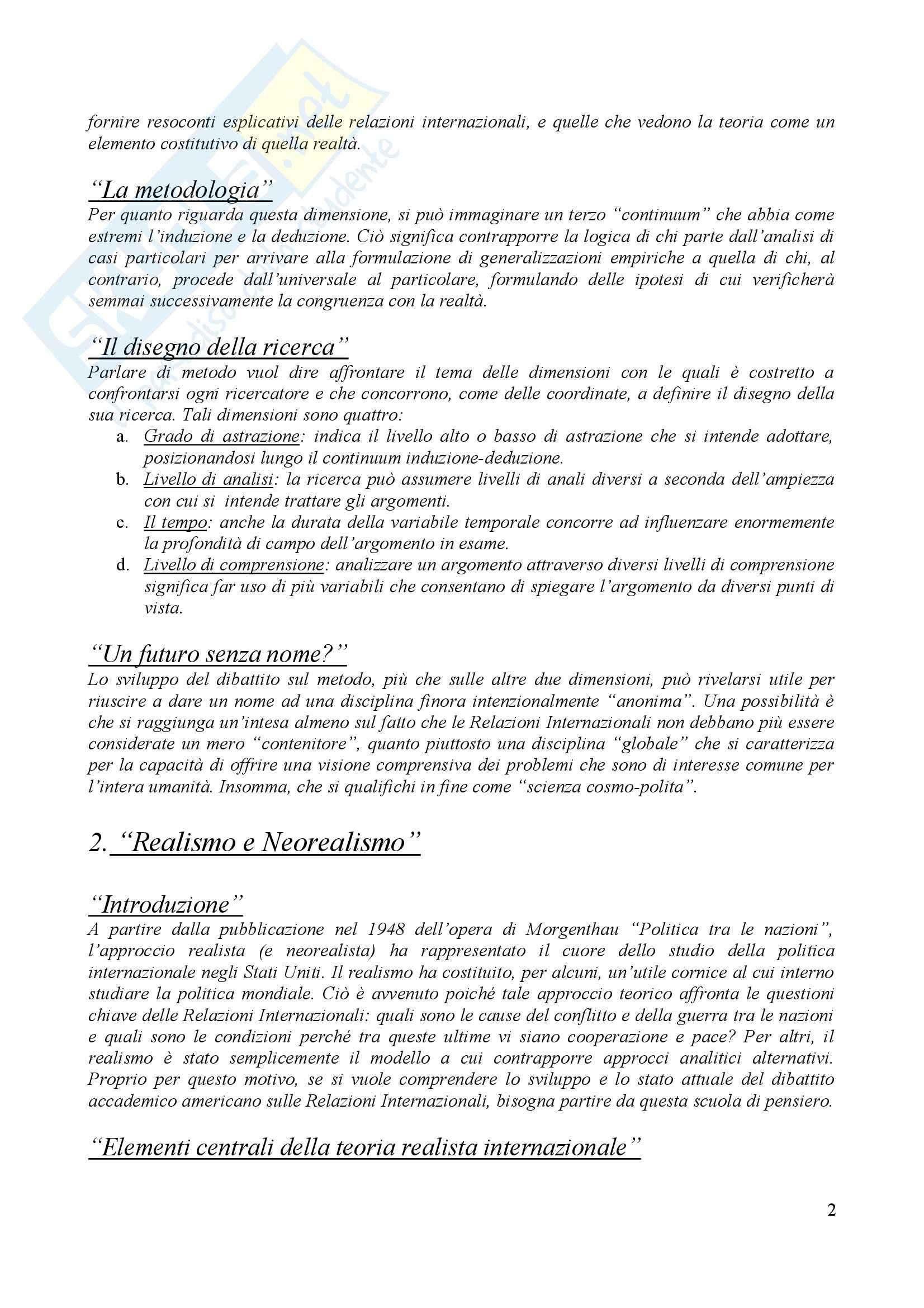 Teorie delle relazioni internazionali Pag. 2