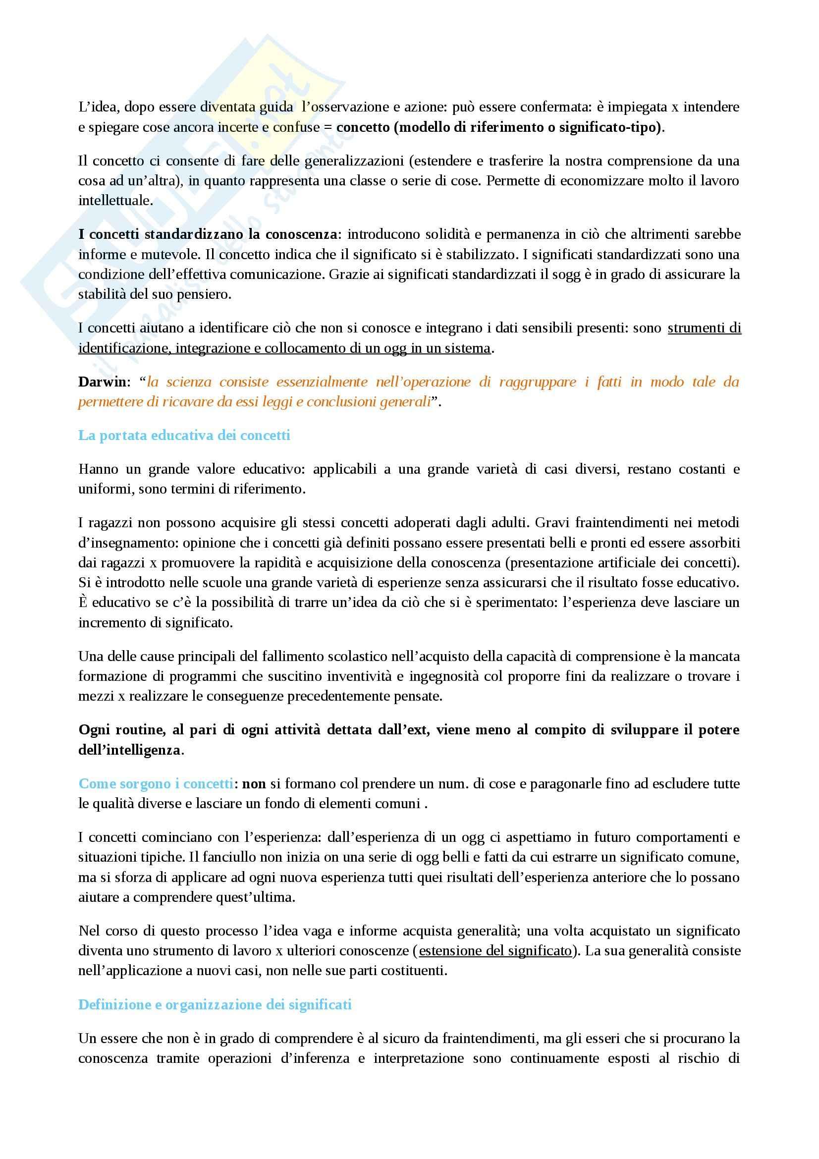 Riassunto esame Pedagogia, prof. Piacenza, libro consigliato Come pensiamo, Dewey Pag. 16