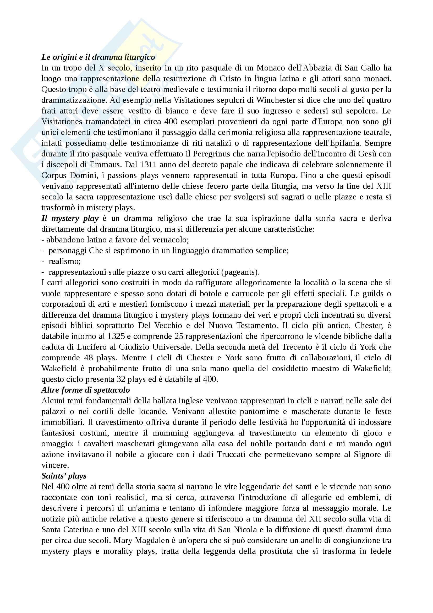 Riassunto esame Storia del teatro, prof.ssa Fazio, libro consigliato Storia del teatro inglese dalle origini fino al 1660, Anzi