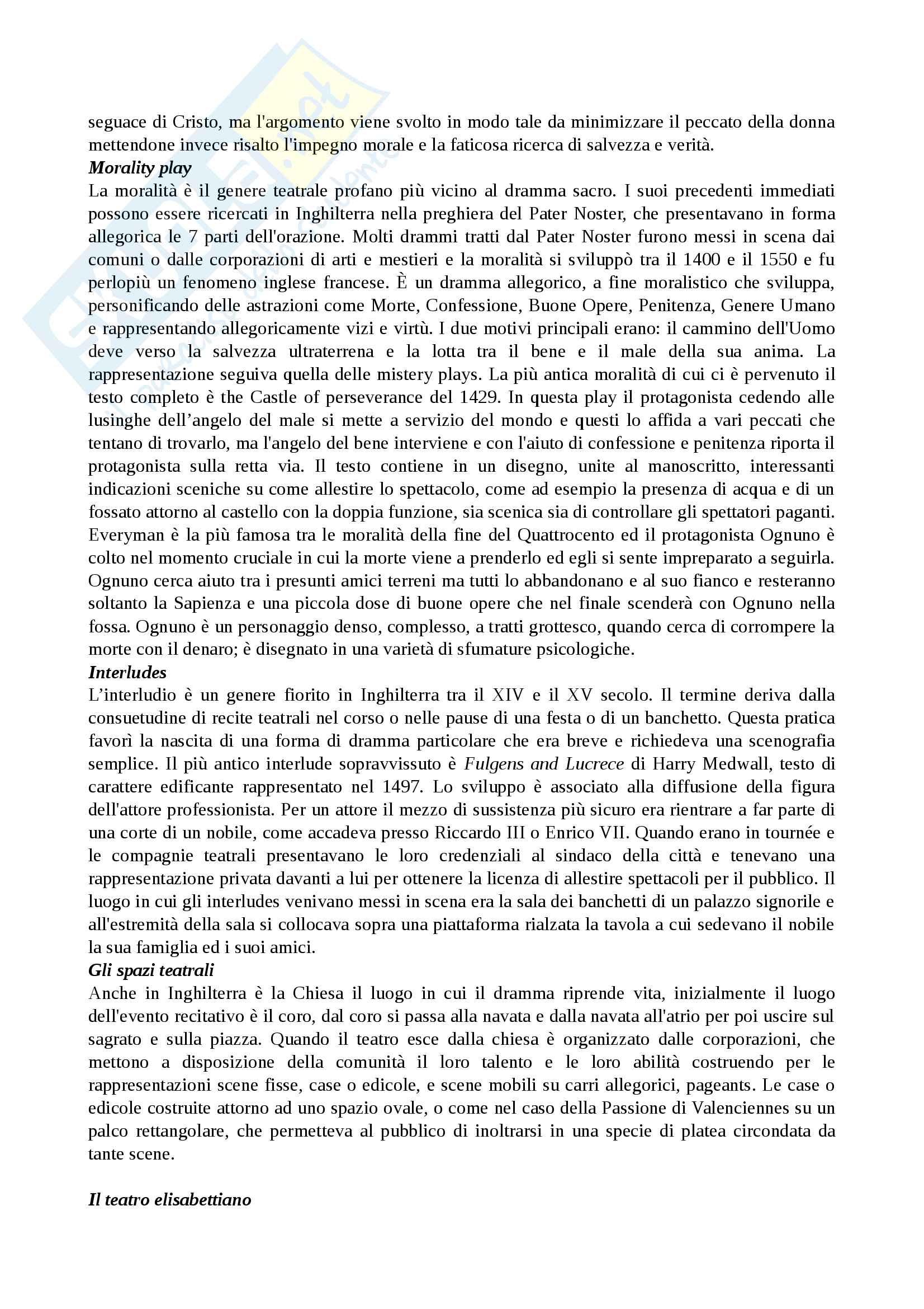 Riassunto esame Storia del teatro, prof.ssa Fazio, libro consigliato Storia del teatro inglese dalle origini fino al 1660, Anzi Pag. 2