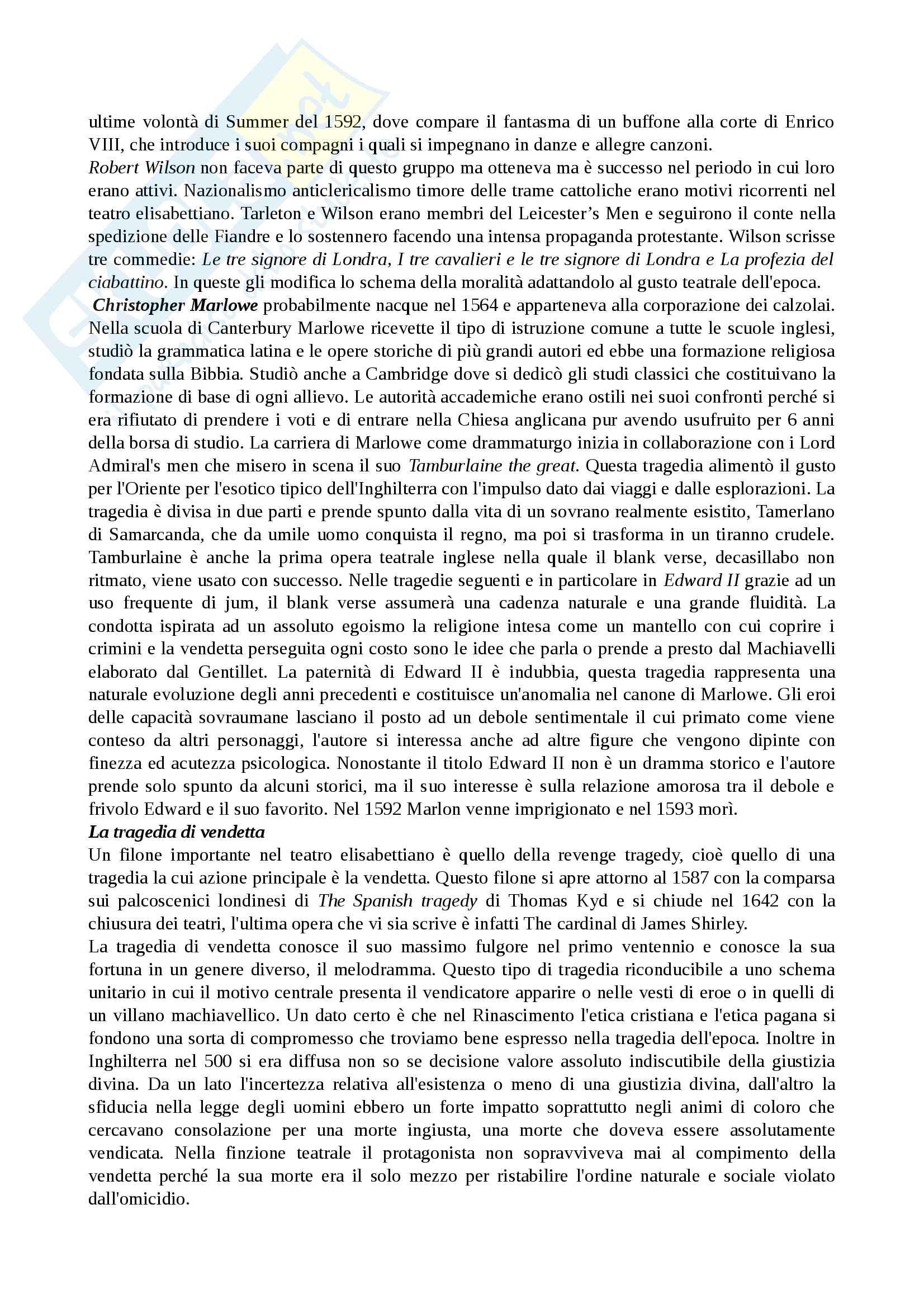 Riassunto esame Storia del teatro, prof.ssa Fazio, libro consigliato Storia del teatro inglese dalle origini fino al 1660, Anzi Pag. 6