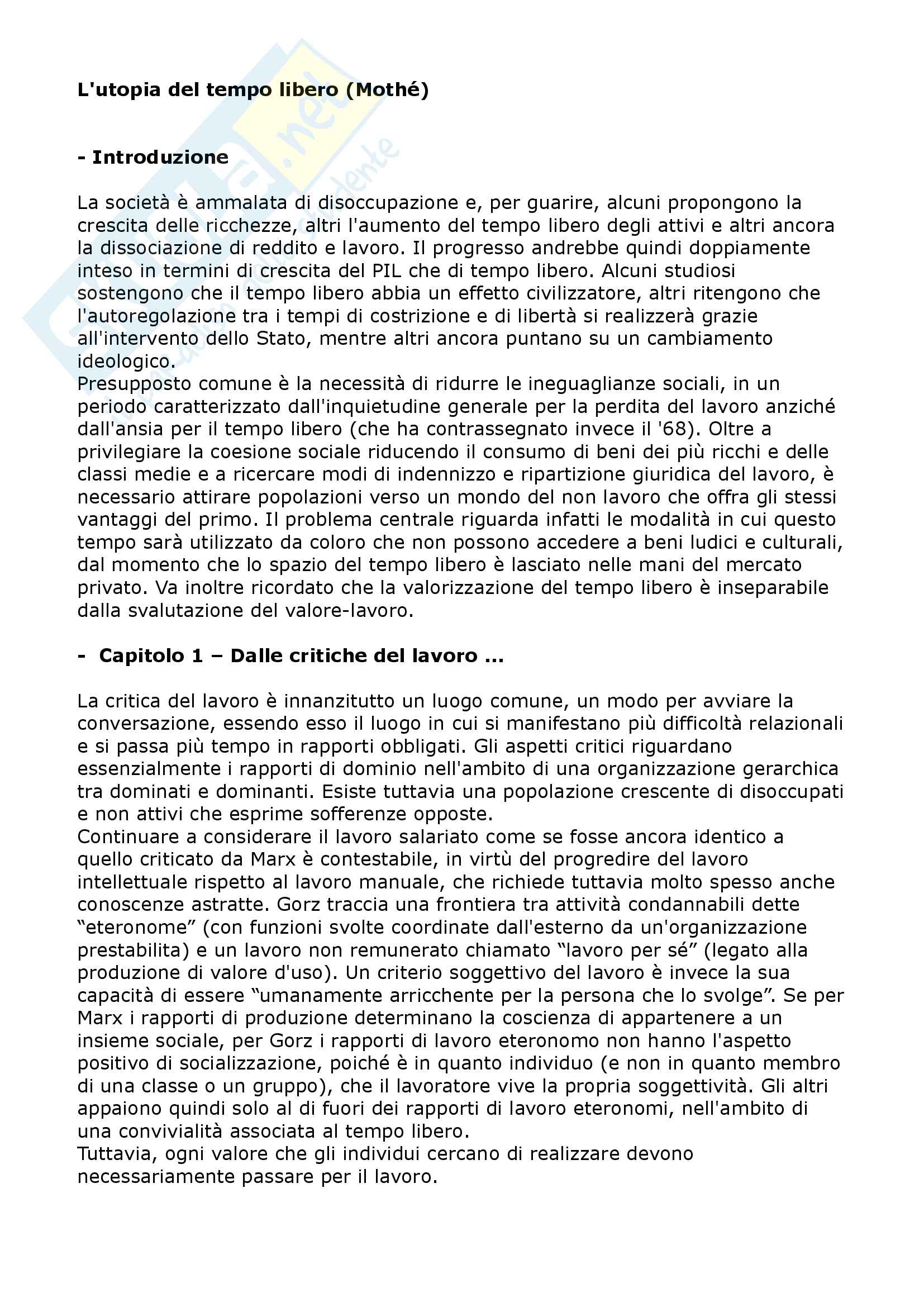 Riassunto esame Sociologia del tempo libero, prof. Russo, libro consigliato L'utopia del tempo libero, Mothé