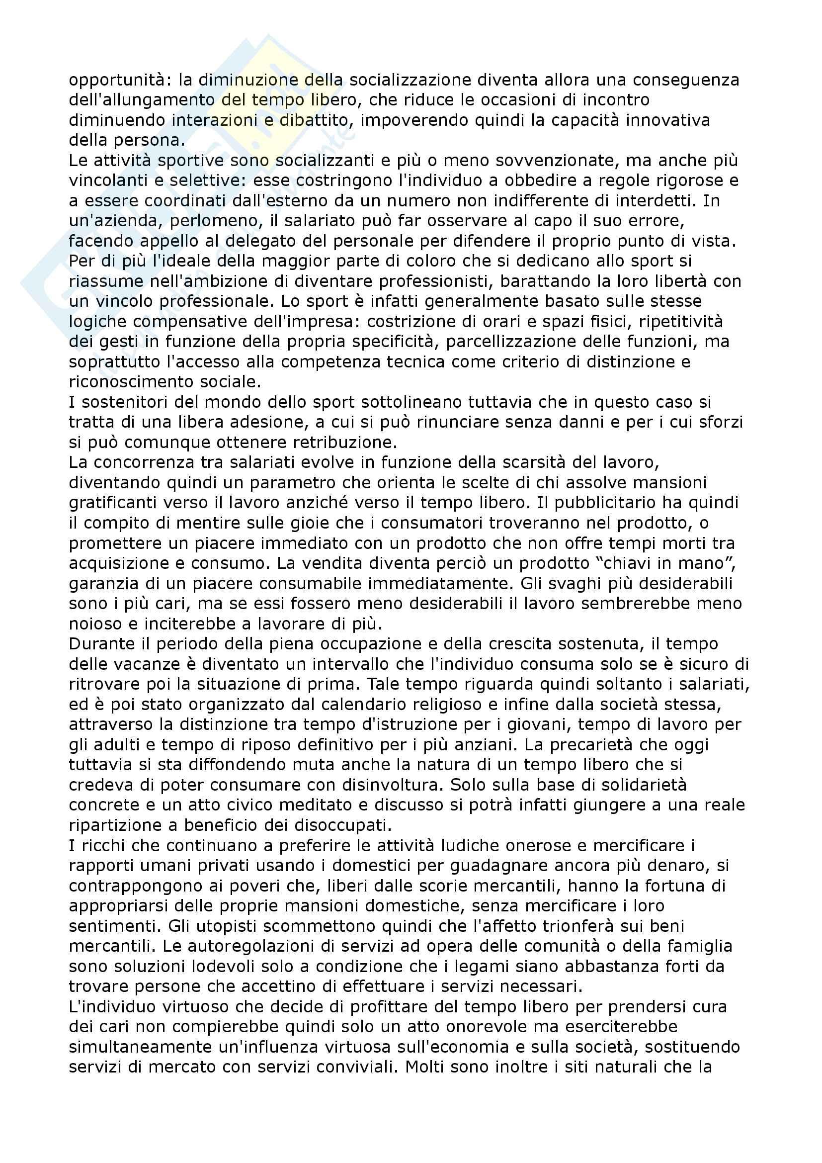 Riassunto esame Sociologia del tempo libero, prof. Russo, libro consigliato L'utopia del tempo libero, Mothé Pag. 6