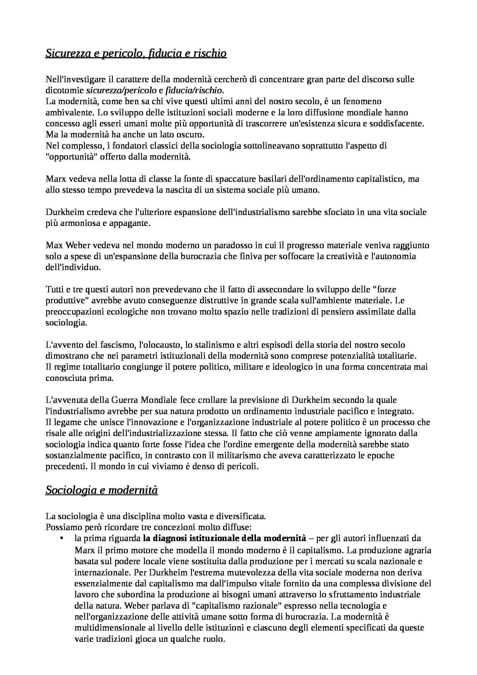 Riassunto esame Fondamenti di scienze sociali, prof. Lombardo, libro consigliato Le conseguenze della modernità di Giddens Pag. 2