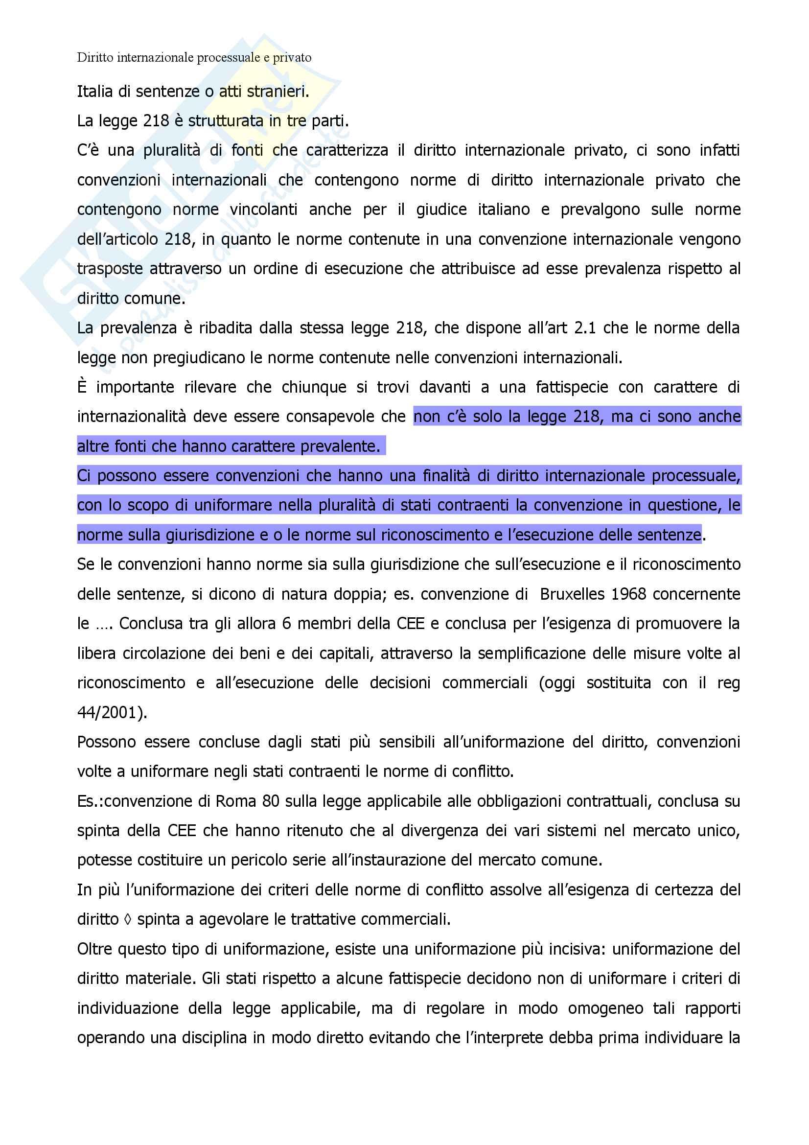 Appunti delle lezioni di Diritto internazionale privato e processuale Pag. 6