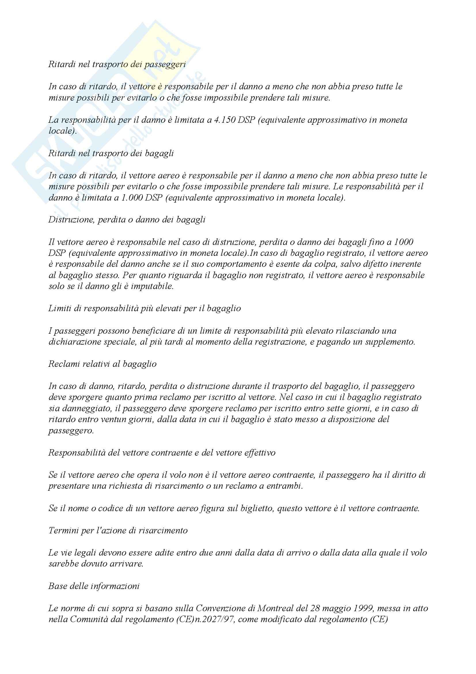 Diritto comunitario - Responsabilità vettore aereo Pag. 6