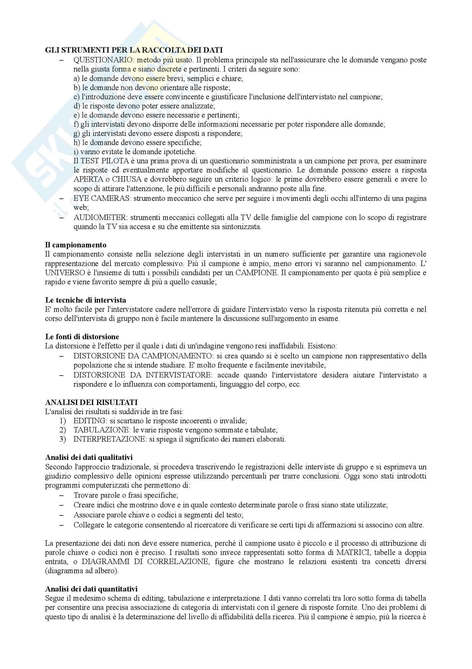 Riassunto esame marketing e strategie d'impresa, prof. Colurcio, Libro consigliato Fondamenti di Marketing, Cedrola Pag. 16