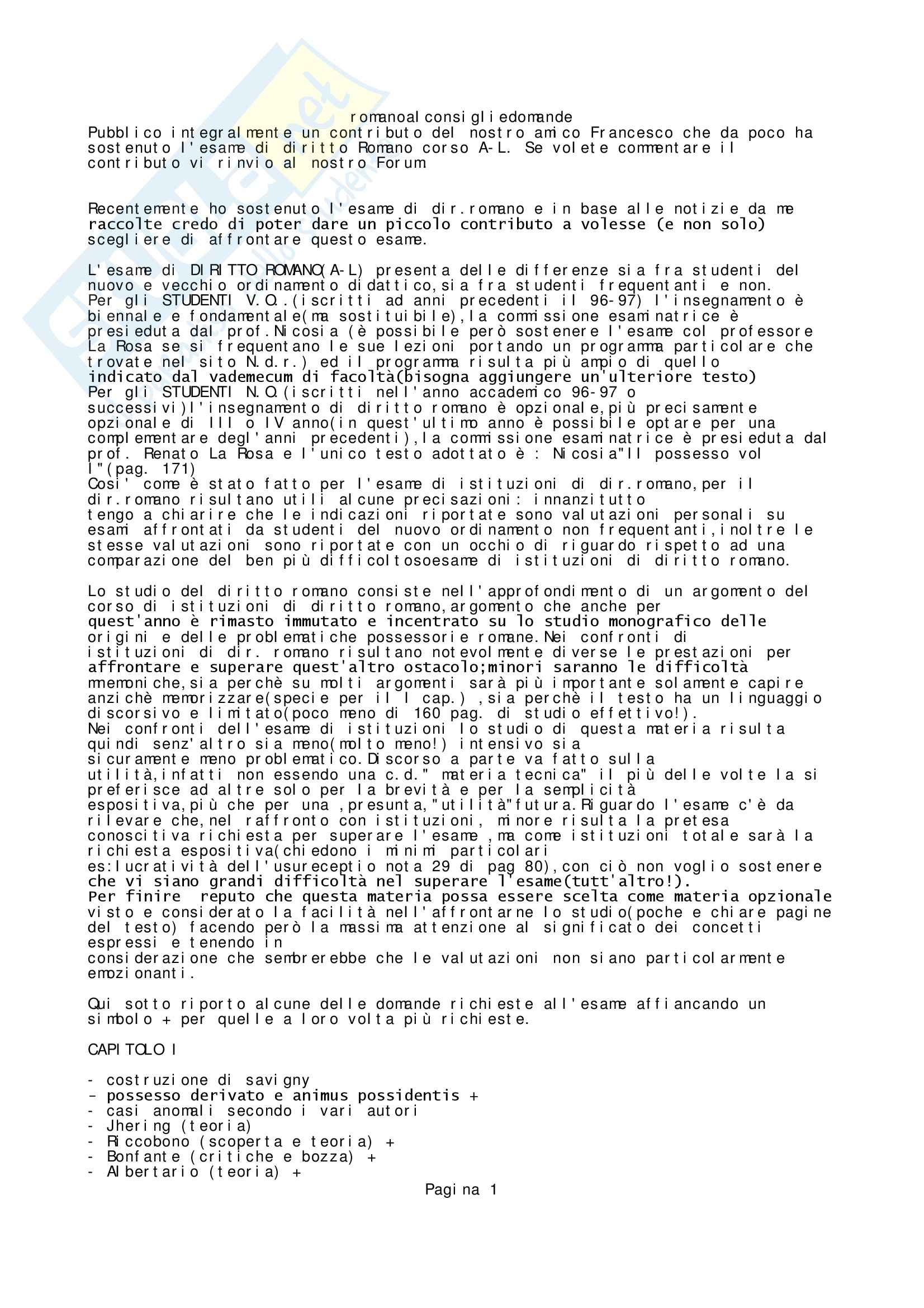 Diritto Romano - Domande d'esame