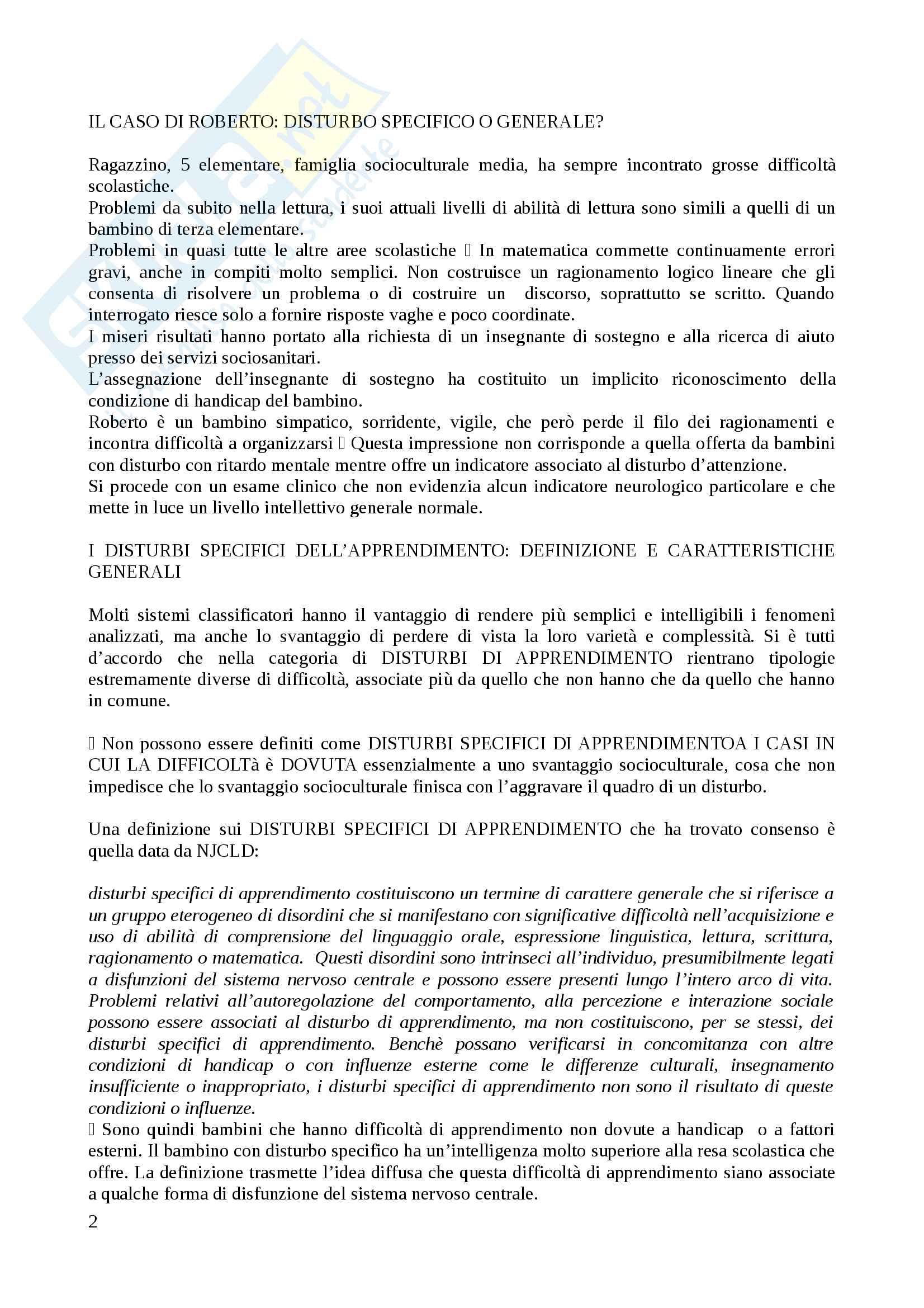 Riassunto esame Metodi e tecniche dei processi di apprendimento, docente Giorgietti, libro consigliato Difficoltà e disturbi dell' apprendimento, Cornoldi Pag. 2