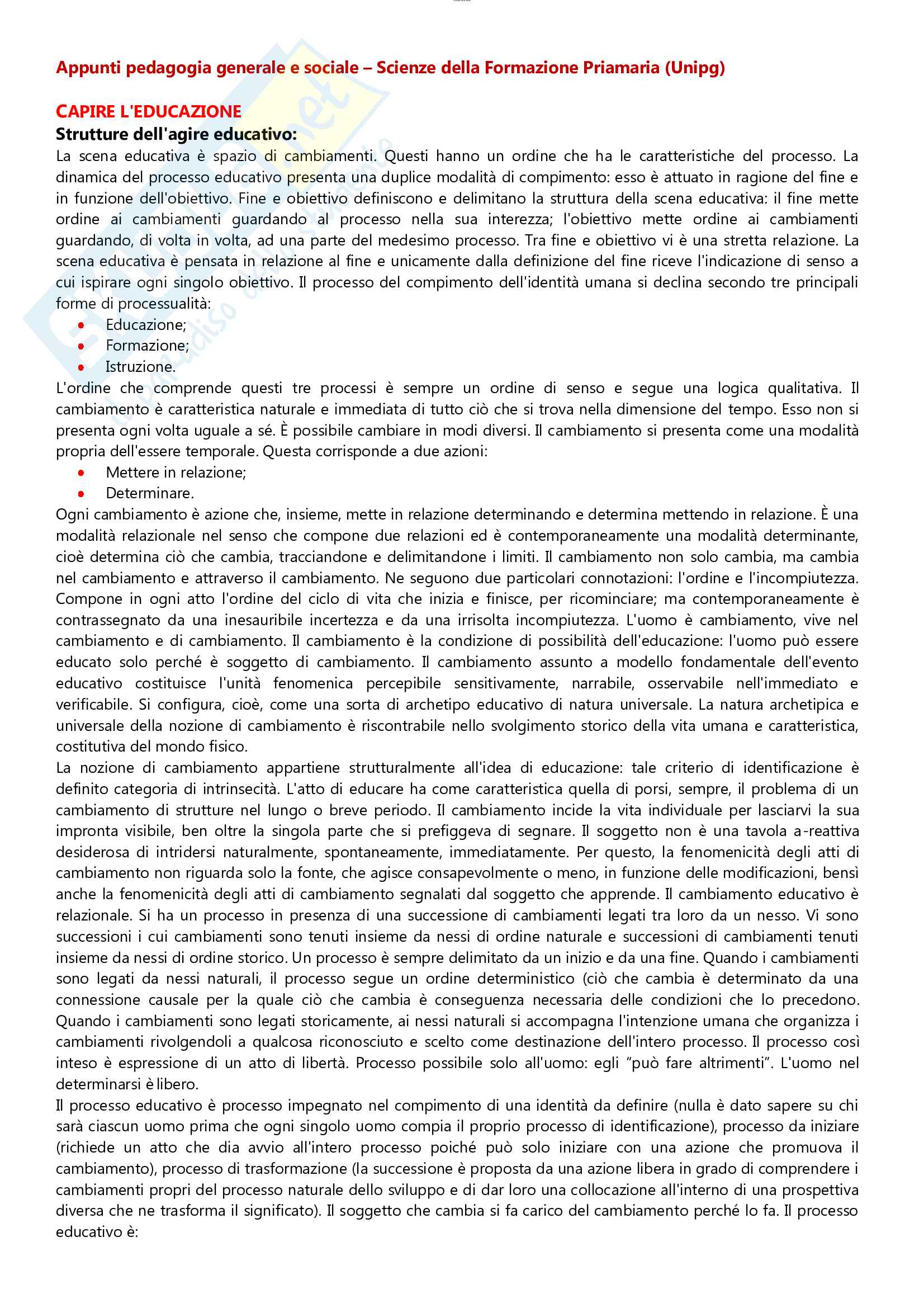 Riassunto esame pedagogia generale e sociale, prof Farinelli, libro consigliato Capire l'educazione, Nosari