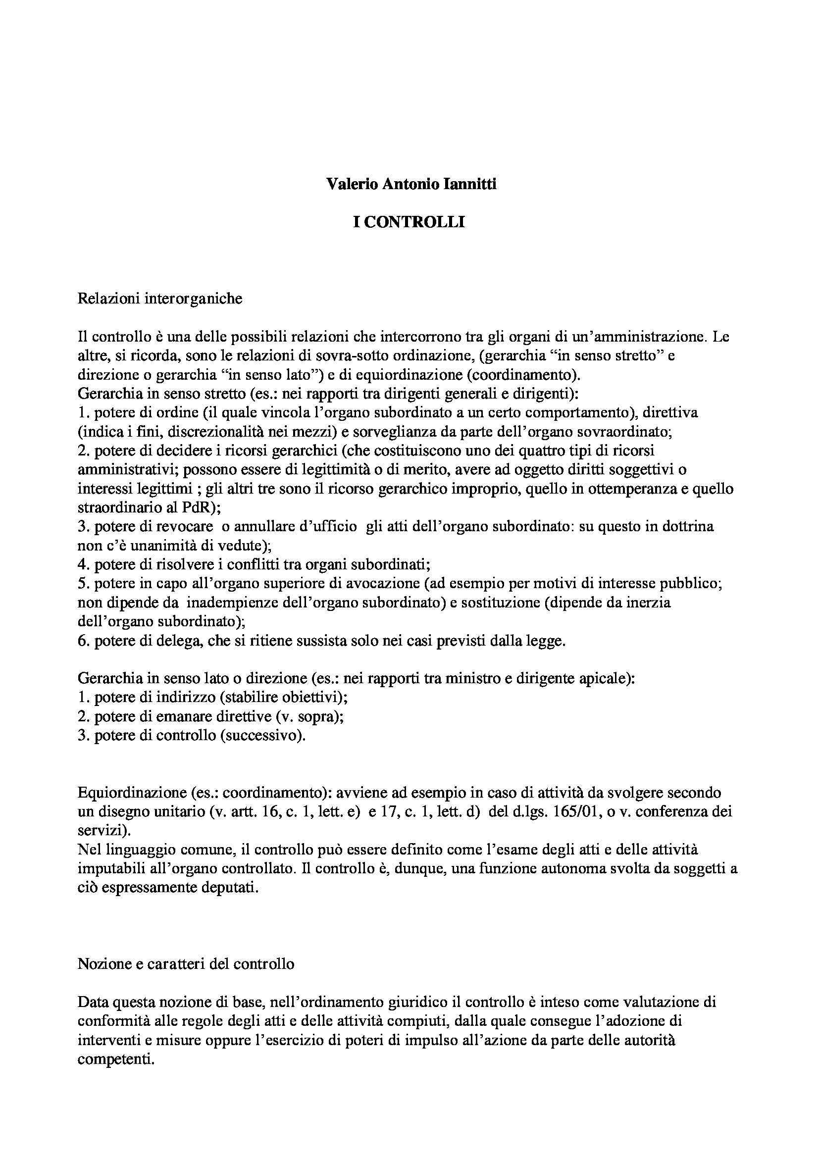 Pubblica amministrazione - Rapporti interorganici e controllo