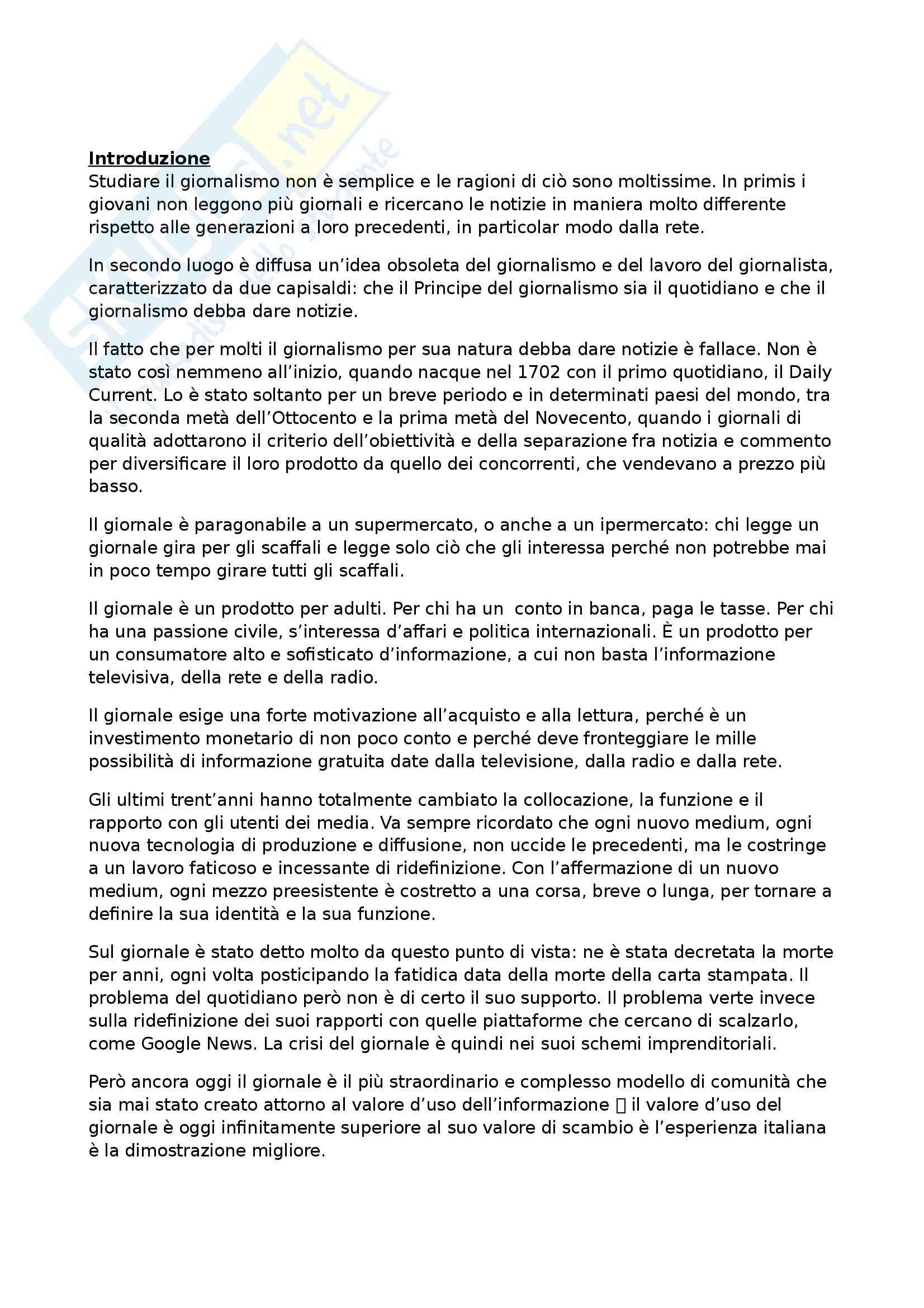Riassunto esame Teorie e Tecniche del Giornalismo, prof. Agostini, libro consigliato Studiare il Giornalismo, Agostini